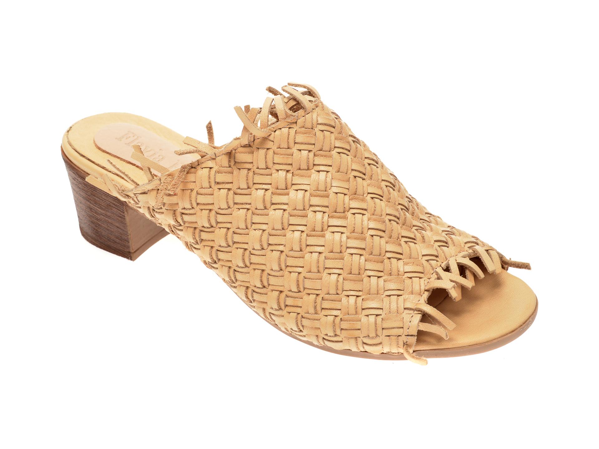 Papuci FLAVIA PASSINI bej, 0101044, din piele naturala