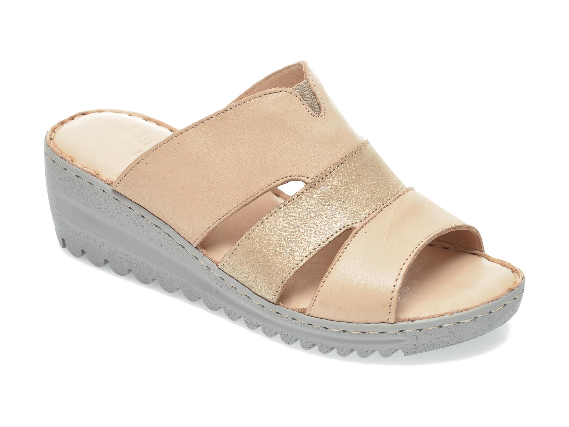 Papuci FLAVIA PASSINI bej, 10217, din piele naturala imagine 2021 Flavia Passini