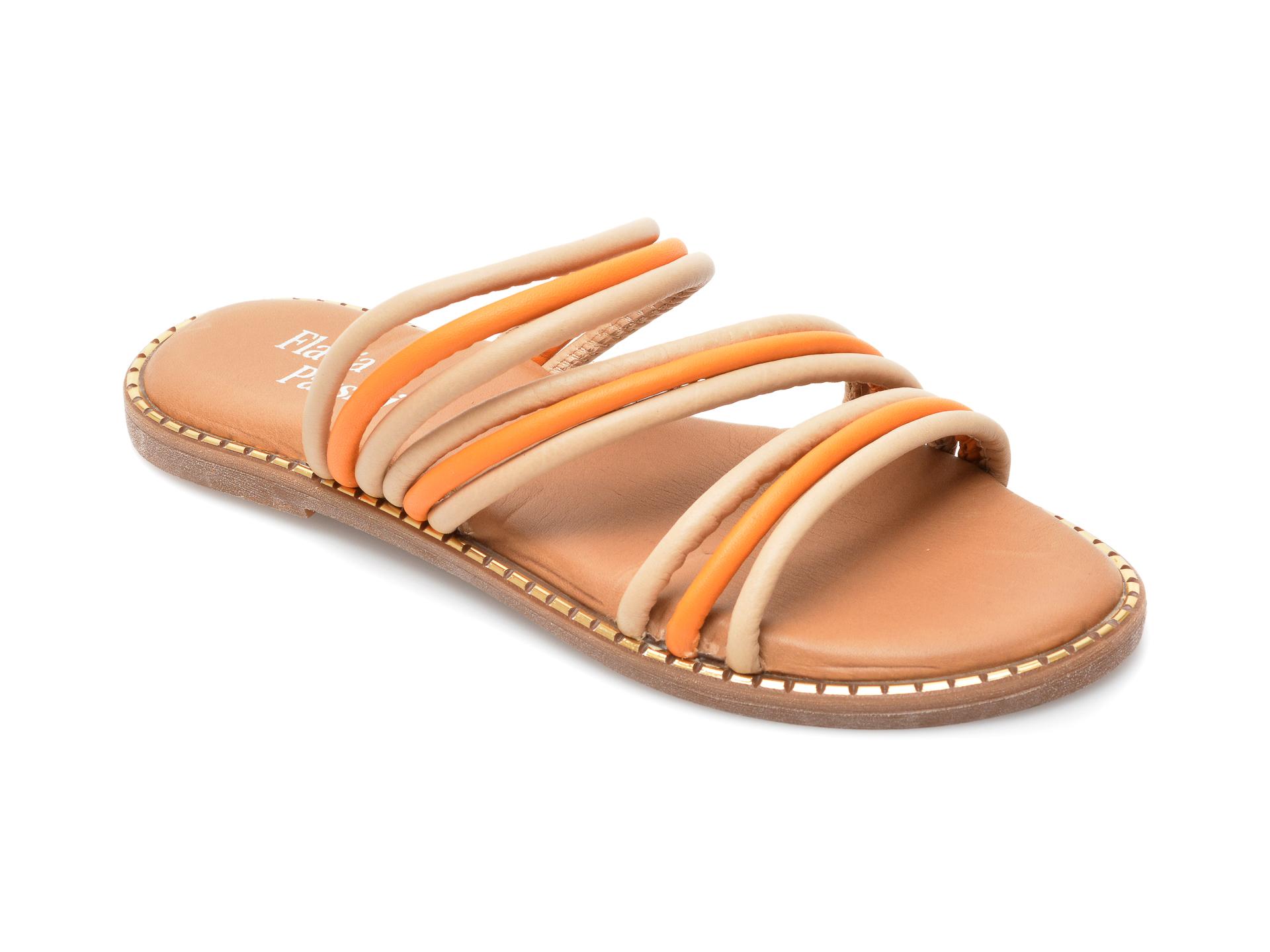 Papuci FLAVIA PASSINI bej, 3044, din piele naturala imagine otter.ro 2021