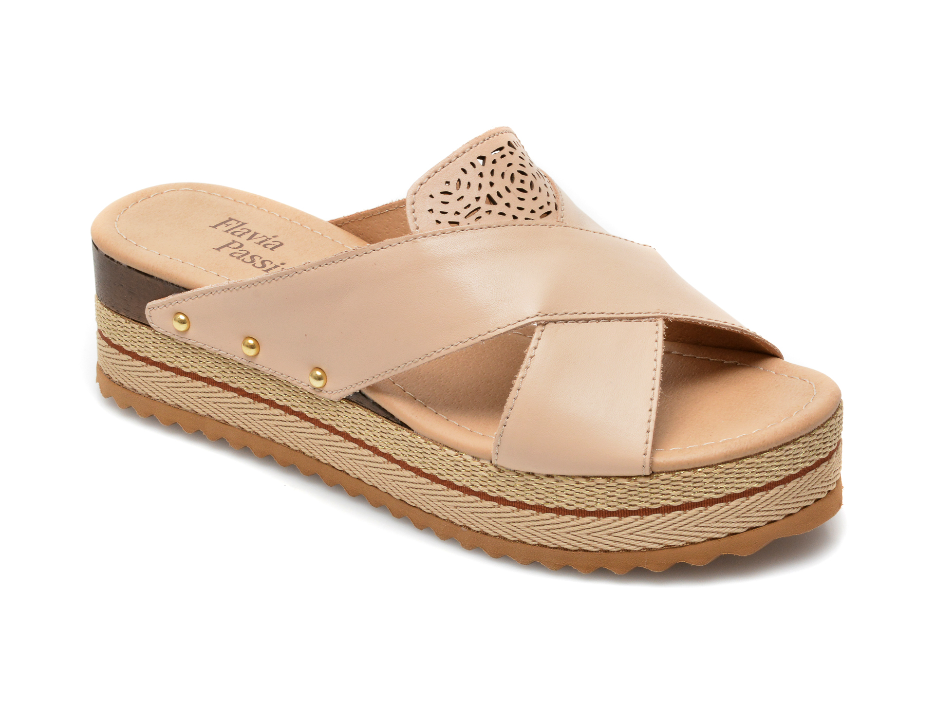 Papuci FLAVIA PASSINI bej, 320803, din piele naturala imagine otter.ro 2021