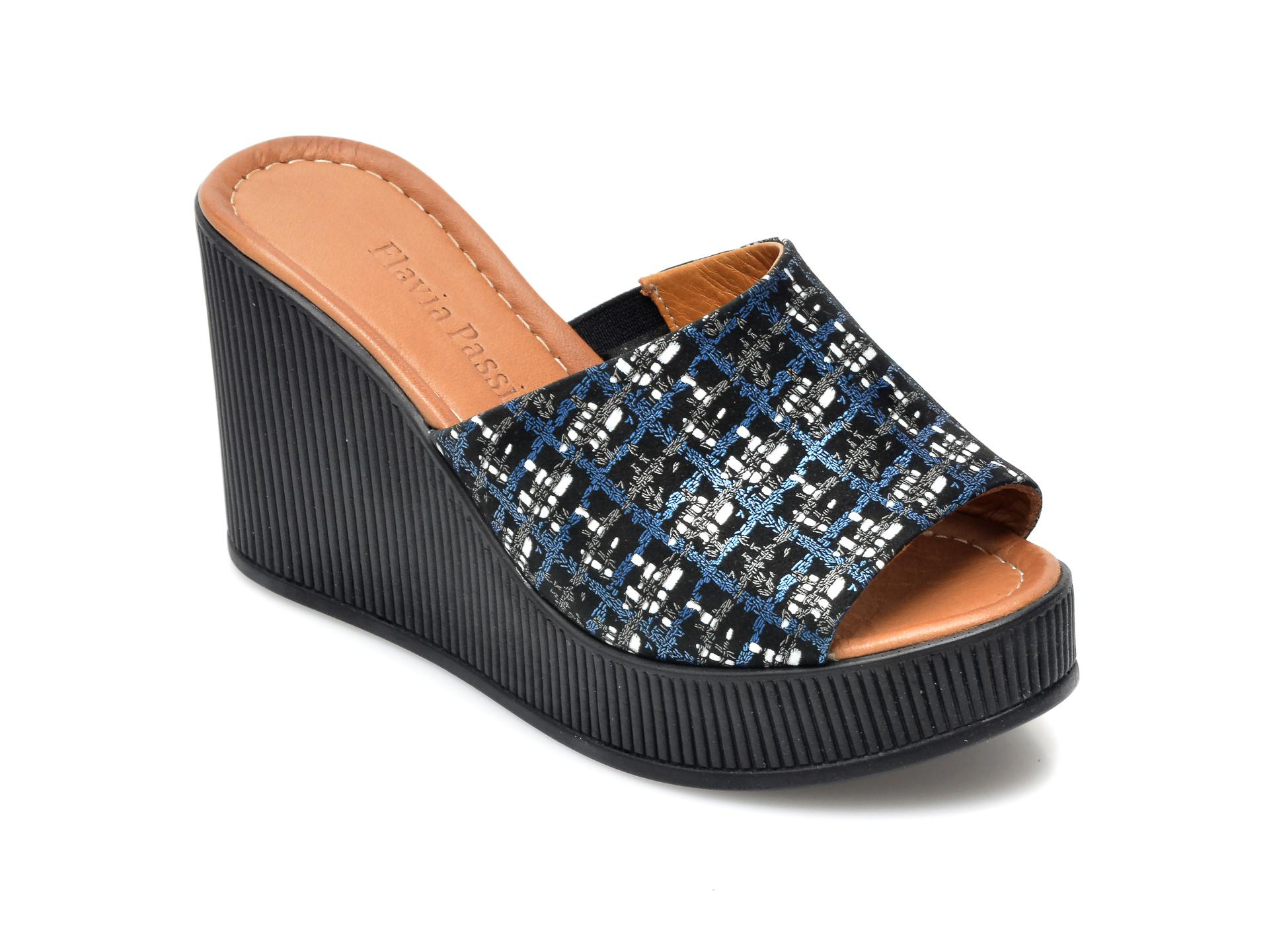 Papuci FLAVIA PASSINI bleumarin, 1062W, din piele naturala