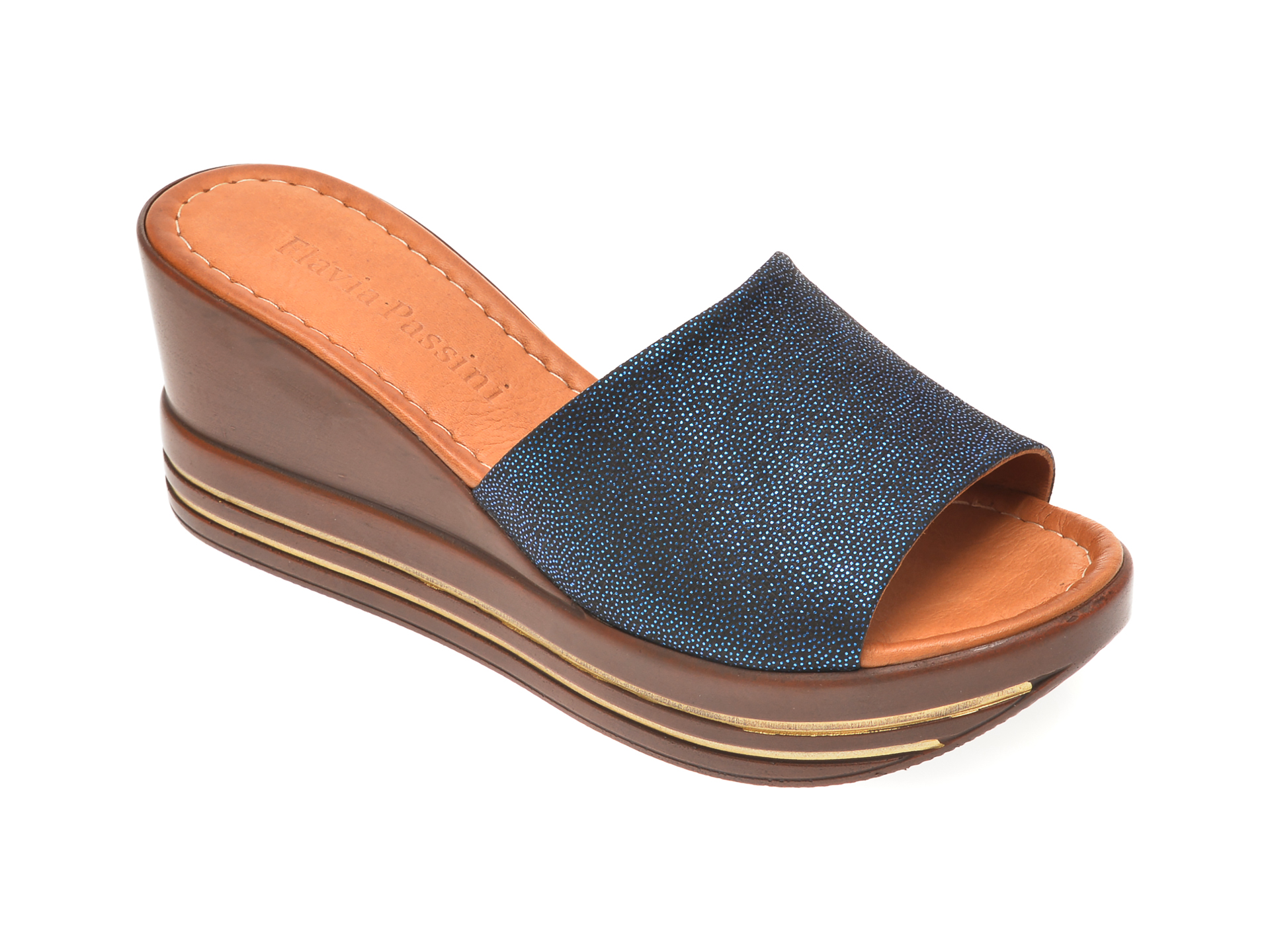 Papuci FLAVIA PASSINI bleumarin, 1181513, din piele naturala