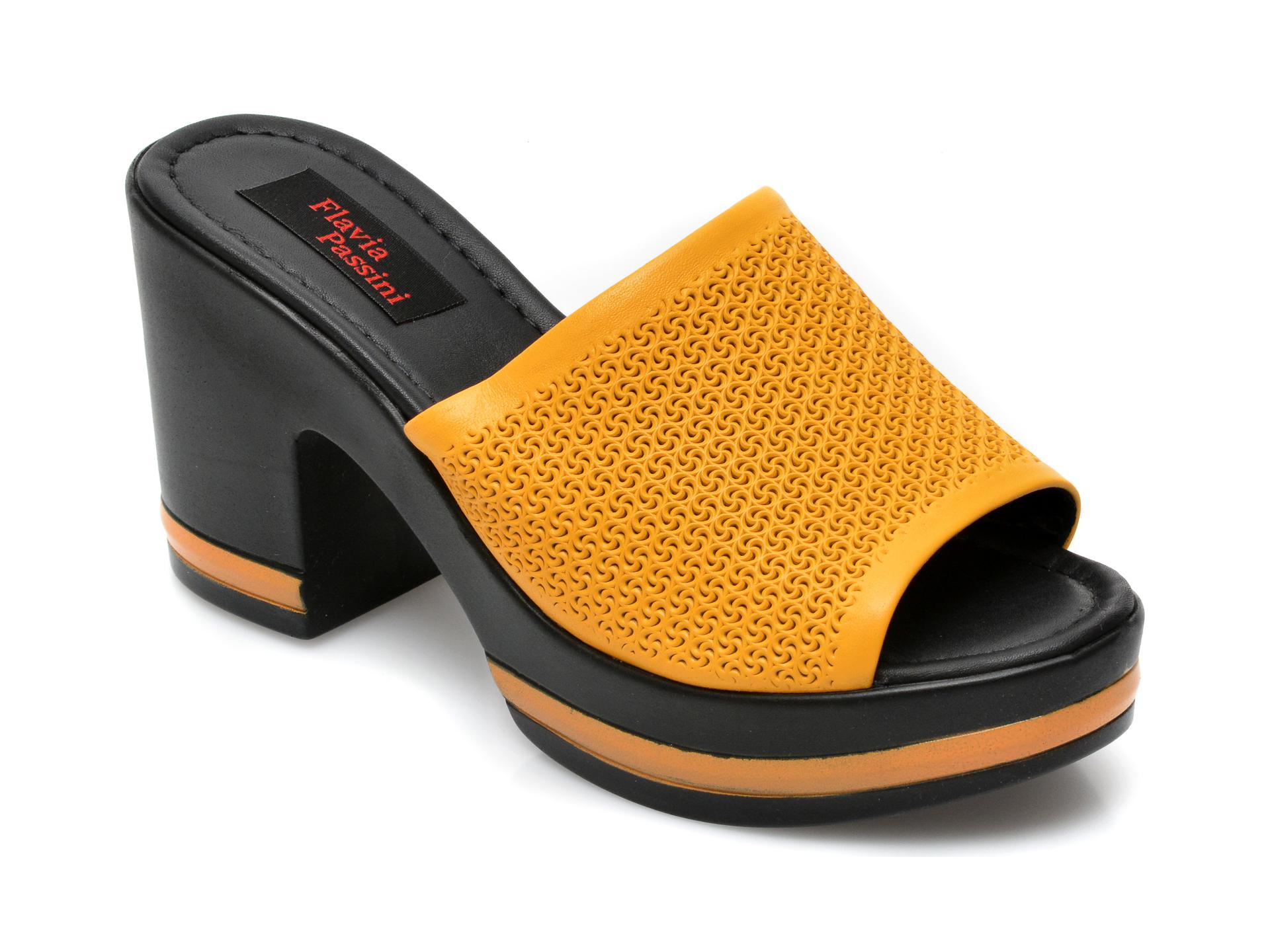 Papuci FLAVIA PASSINI galbeni, 2590, din piele naturala