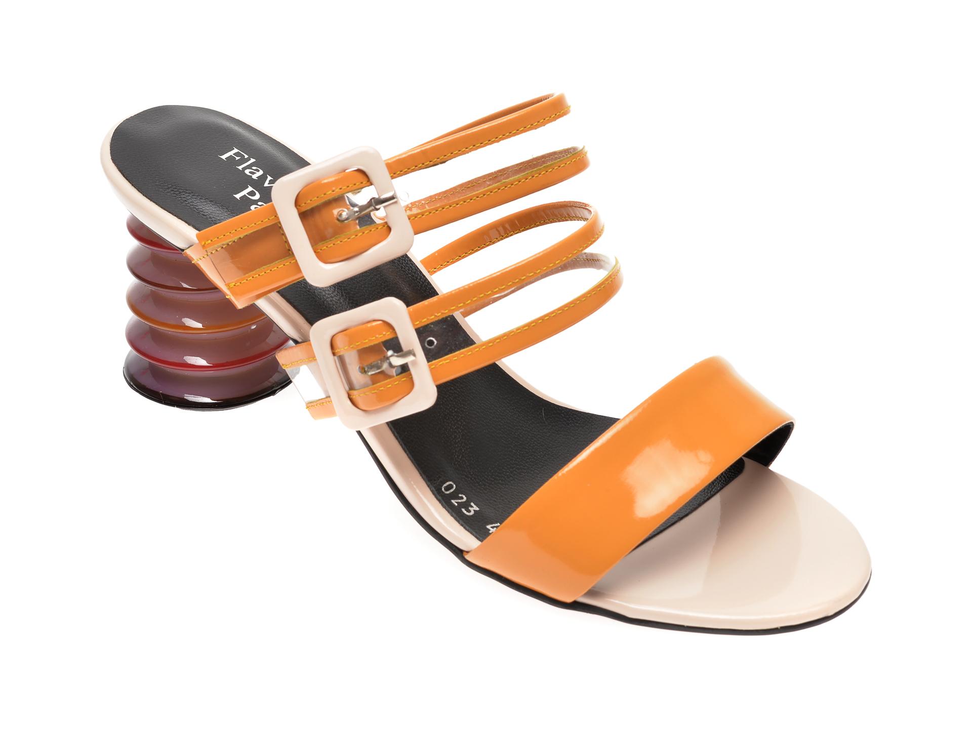 Papuci FLAVIA PASSINI galbeni, 4024SAS, din piele naturala