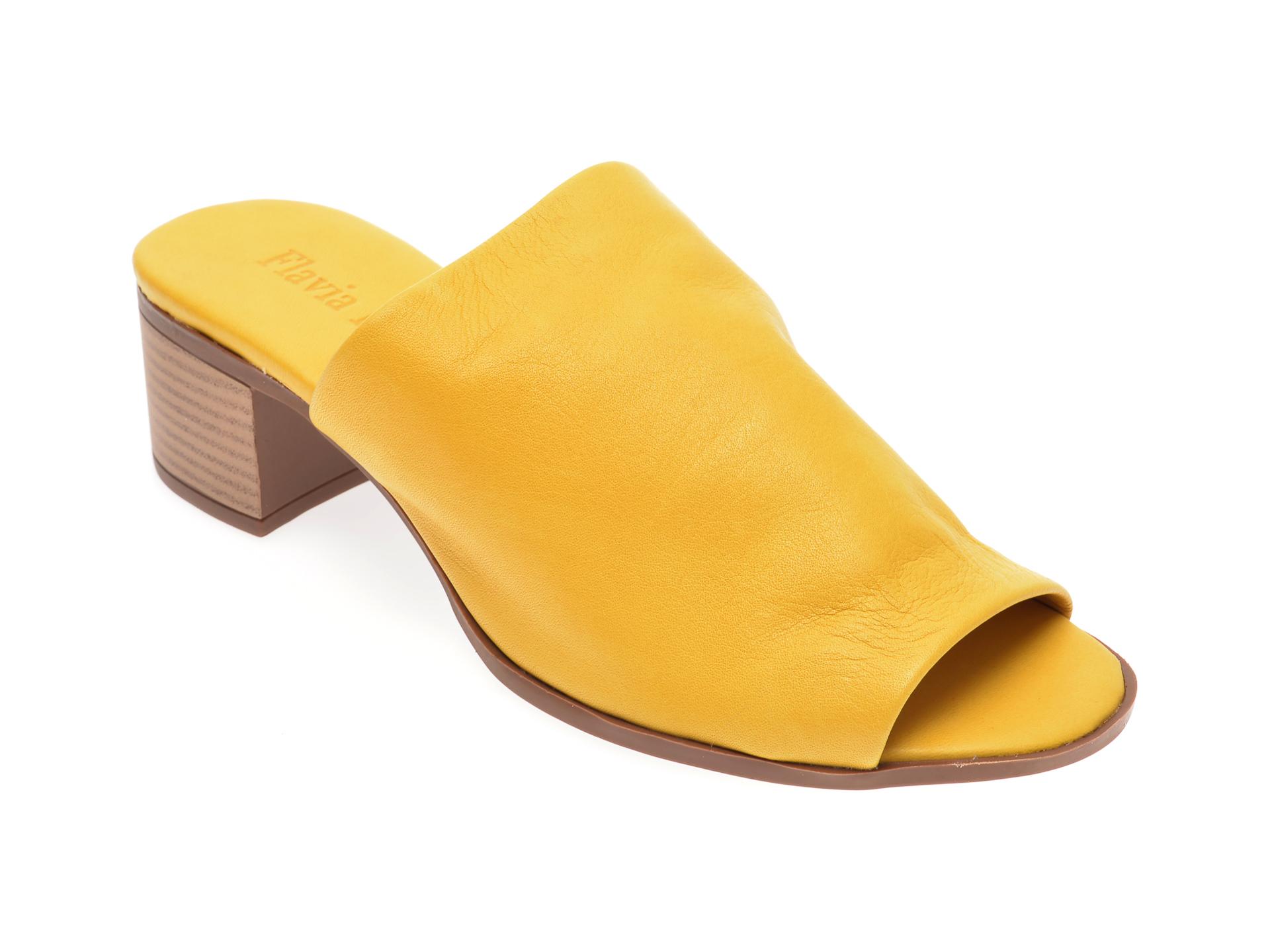 Papuci FLAVIA PASSINI galbeni, 426700, din piele naturala