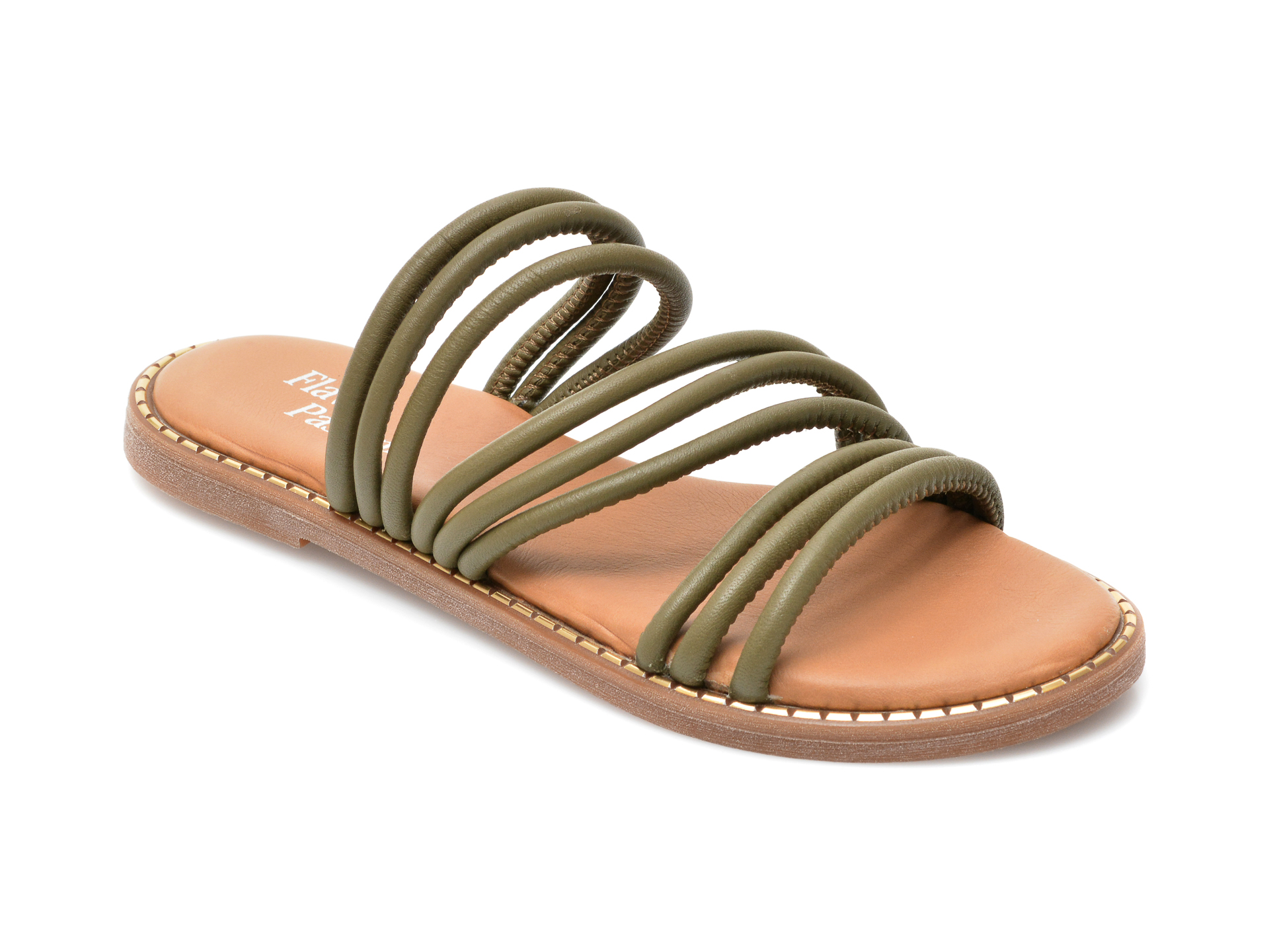 Papuci FLAVIA PASSINI kaki, 3044, din piele naturala imagine otter.ro 2021