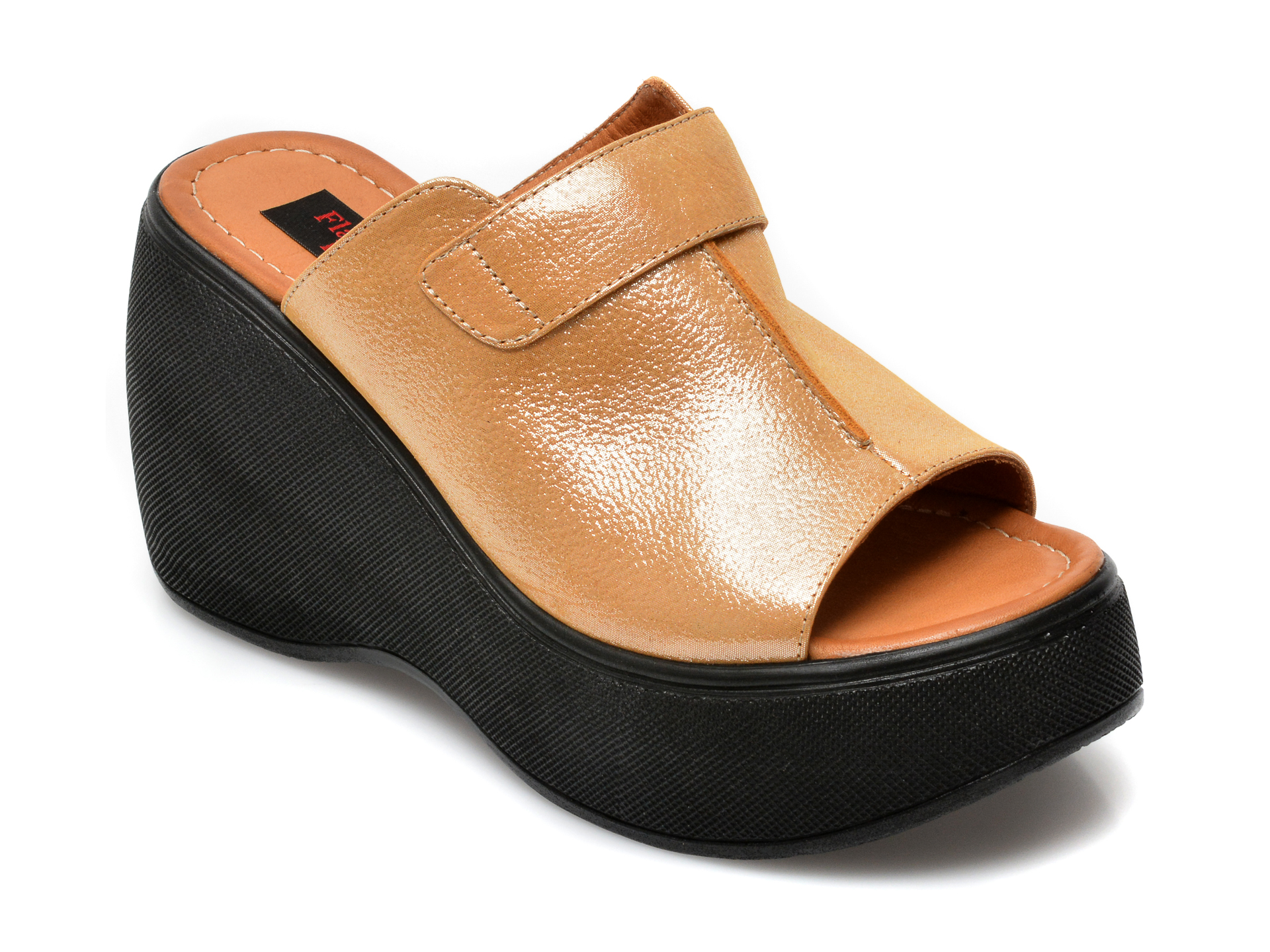 Papuci FLAVIA PASSINI maro, 2450XT, din piele naturala imagine otter.ro