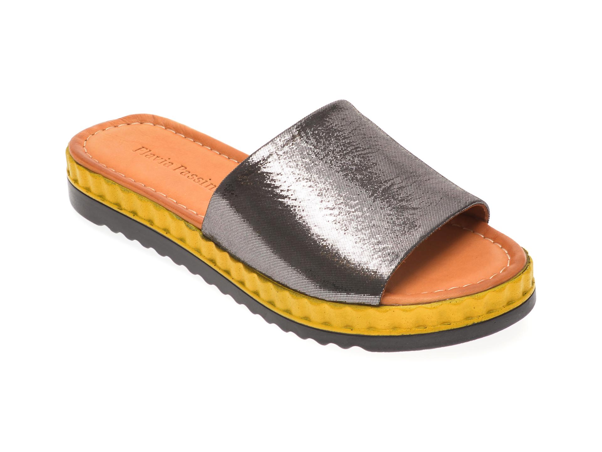 Papuci FLAVIA PASSINI negri, 1182104, din piele naturala