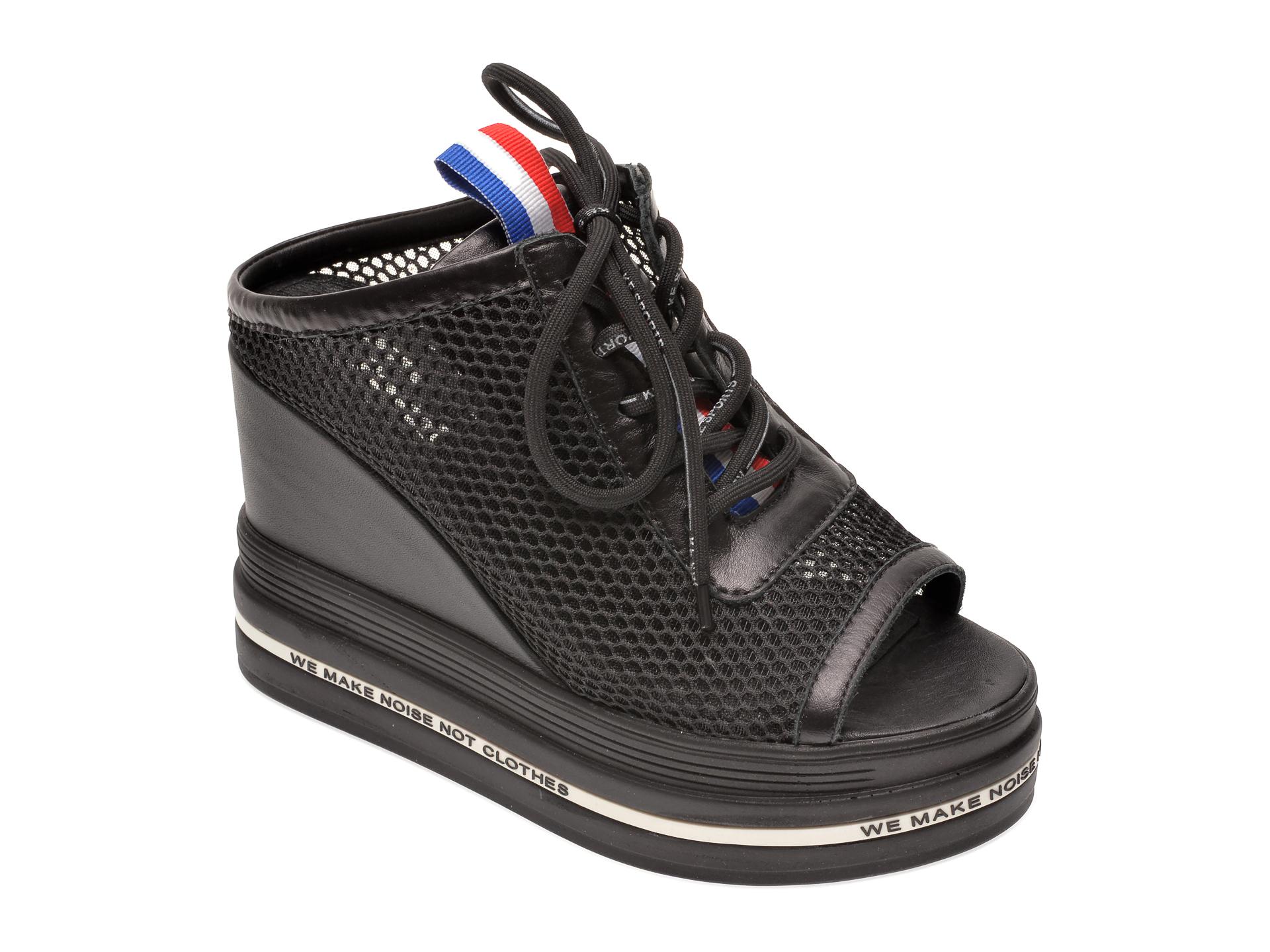 Papuci FLAVIA PASSINI negri, 135P76, din material textil si piele naturala