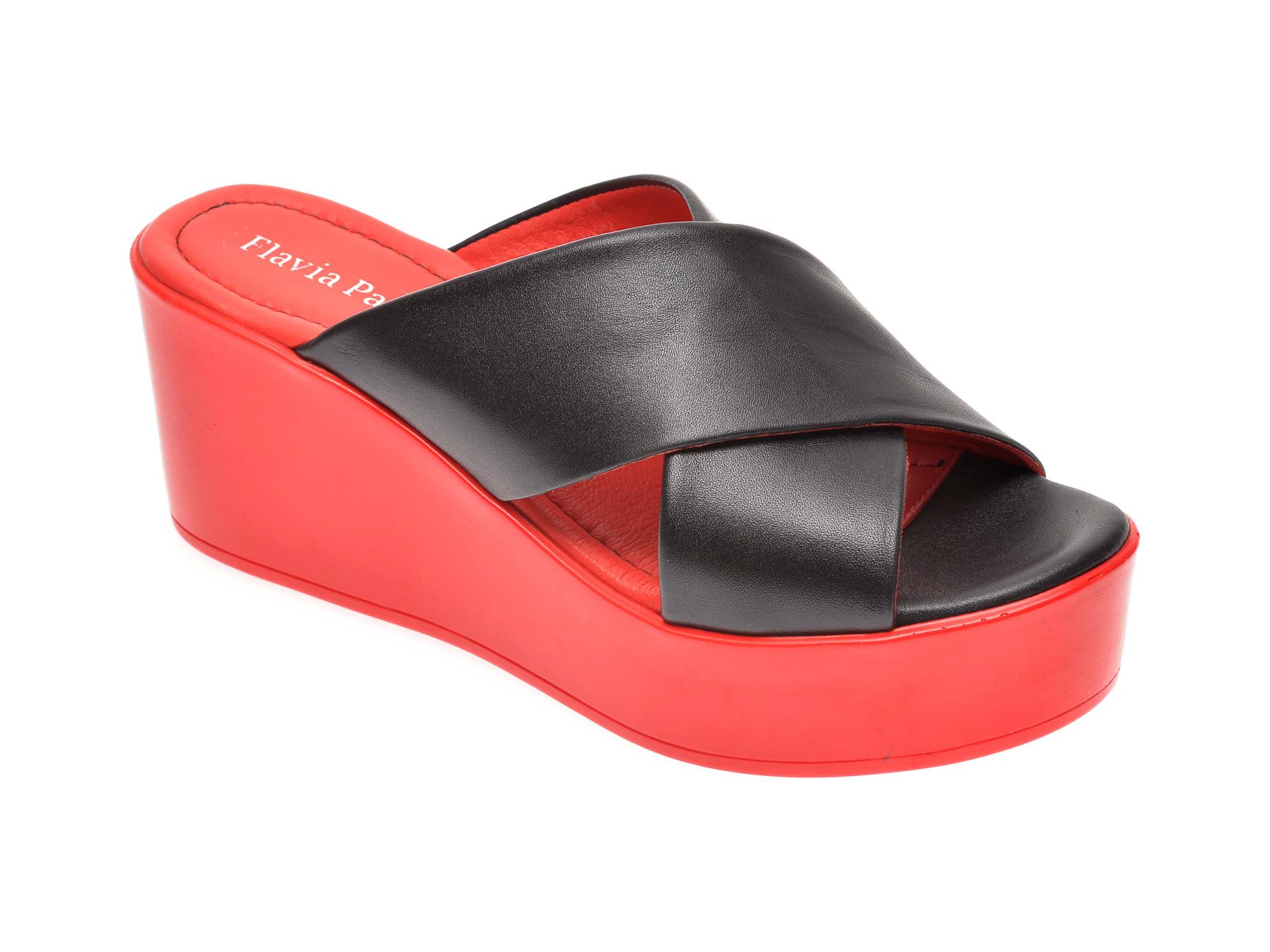 Papuci FLAVIA PASSINI negri, 6292145, din piele naturala