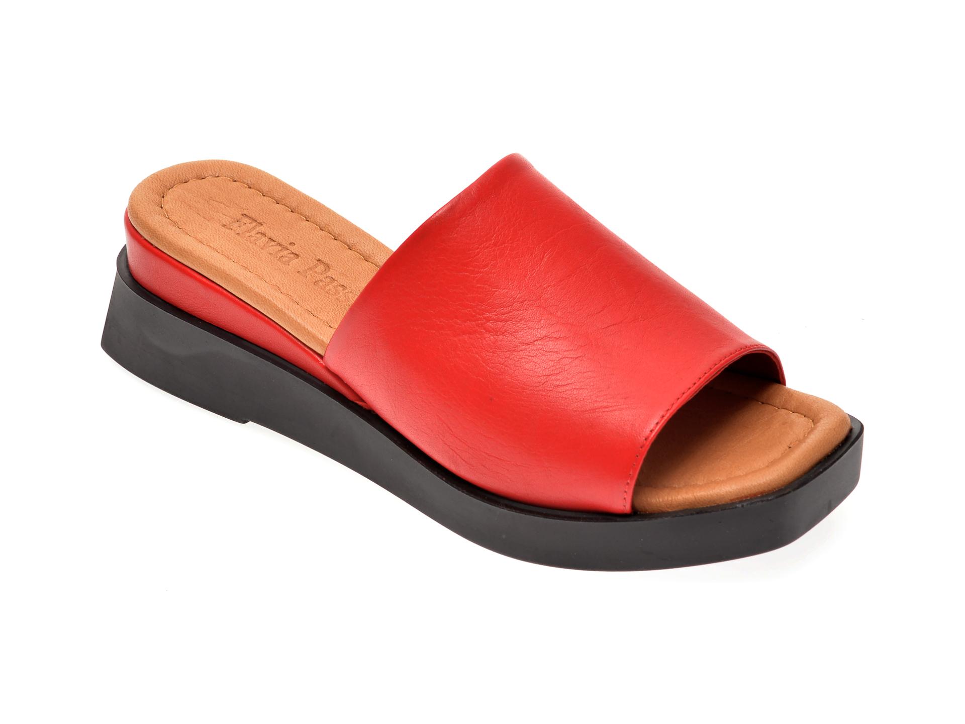 Papuci FLAVIA PASSINI rosii, 130321, din piele naturala