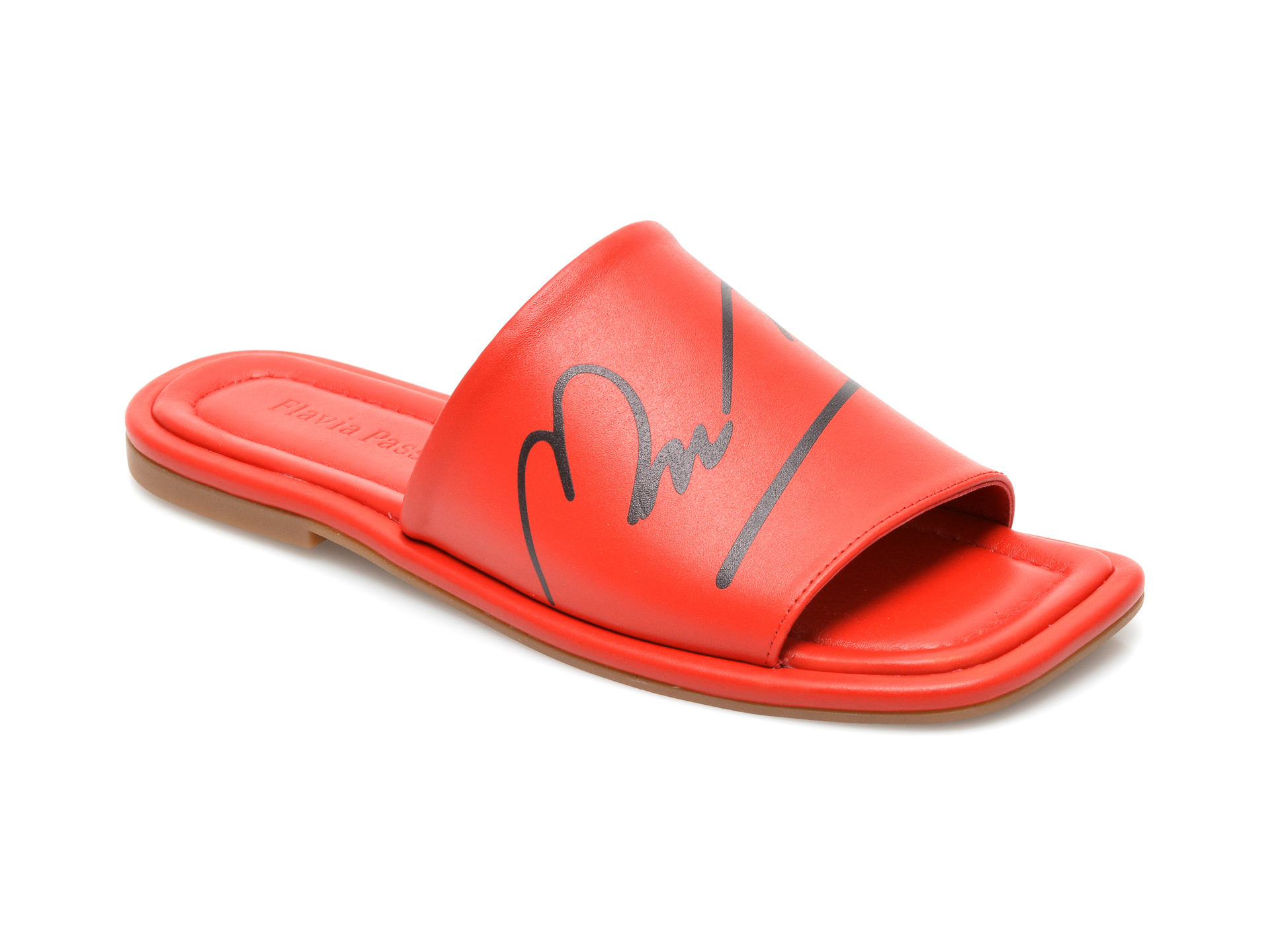 Papuci FLAVIA PASSINI rosii, 216461, din piele naturala imagine otter.ro 2021