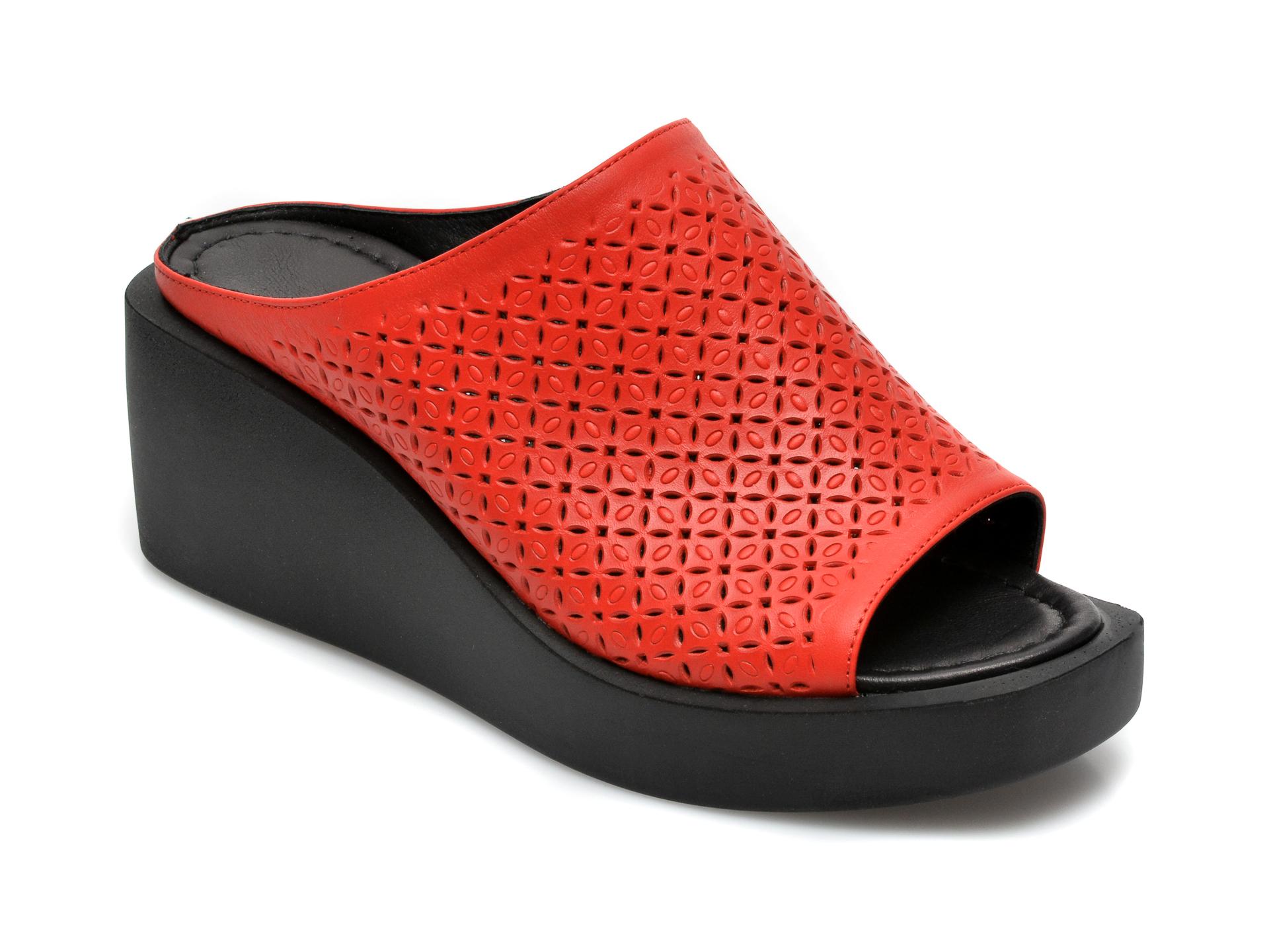 Papuci FLAVIA PASSINI rosii, 26672SH, din piele naturala
