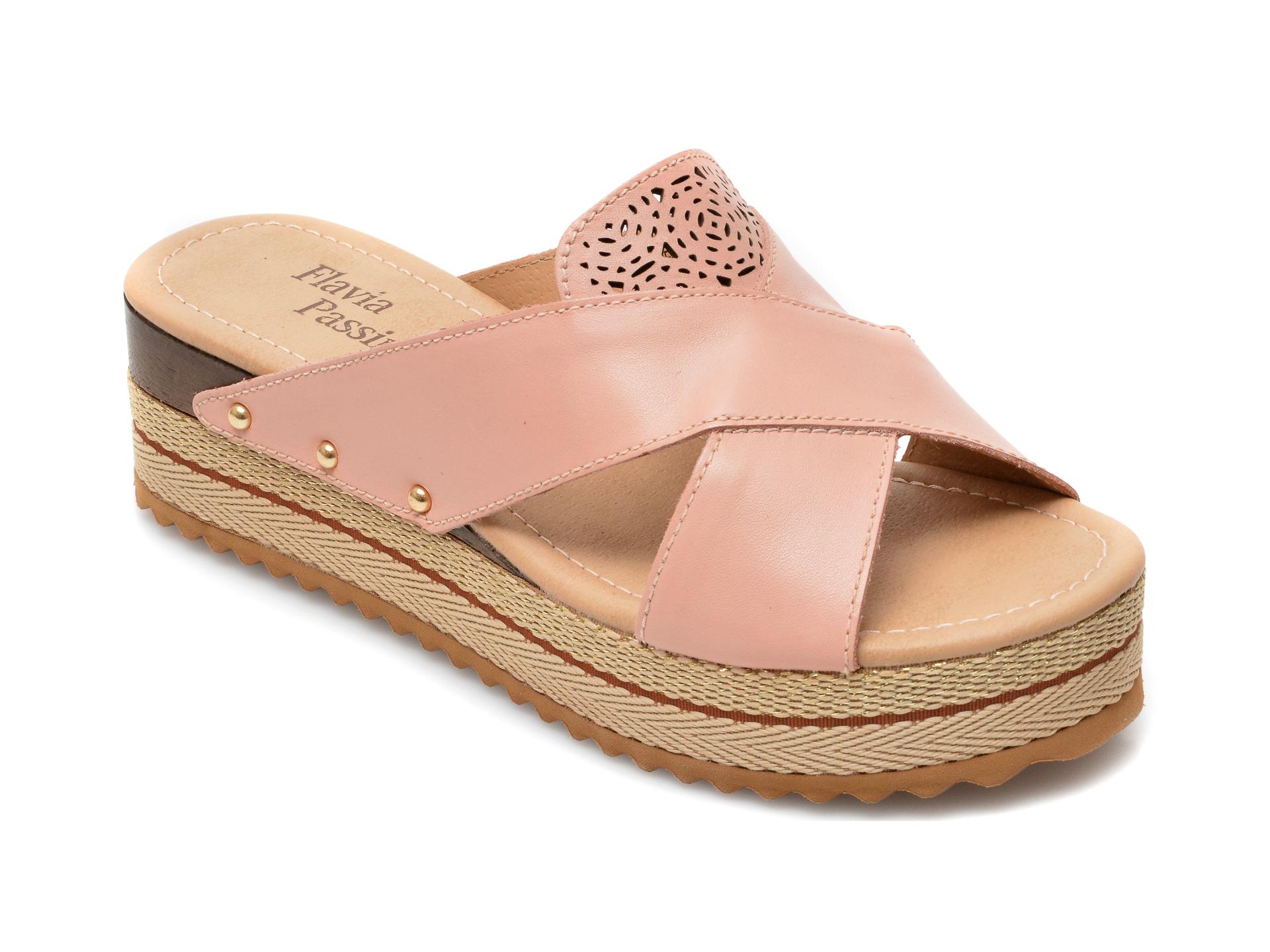 Papuci FLAVIA PASSINI roz, 320803, din piele naturala imagine otter.ro 2021