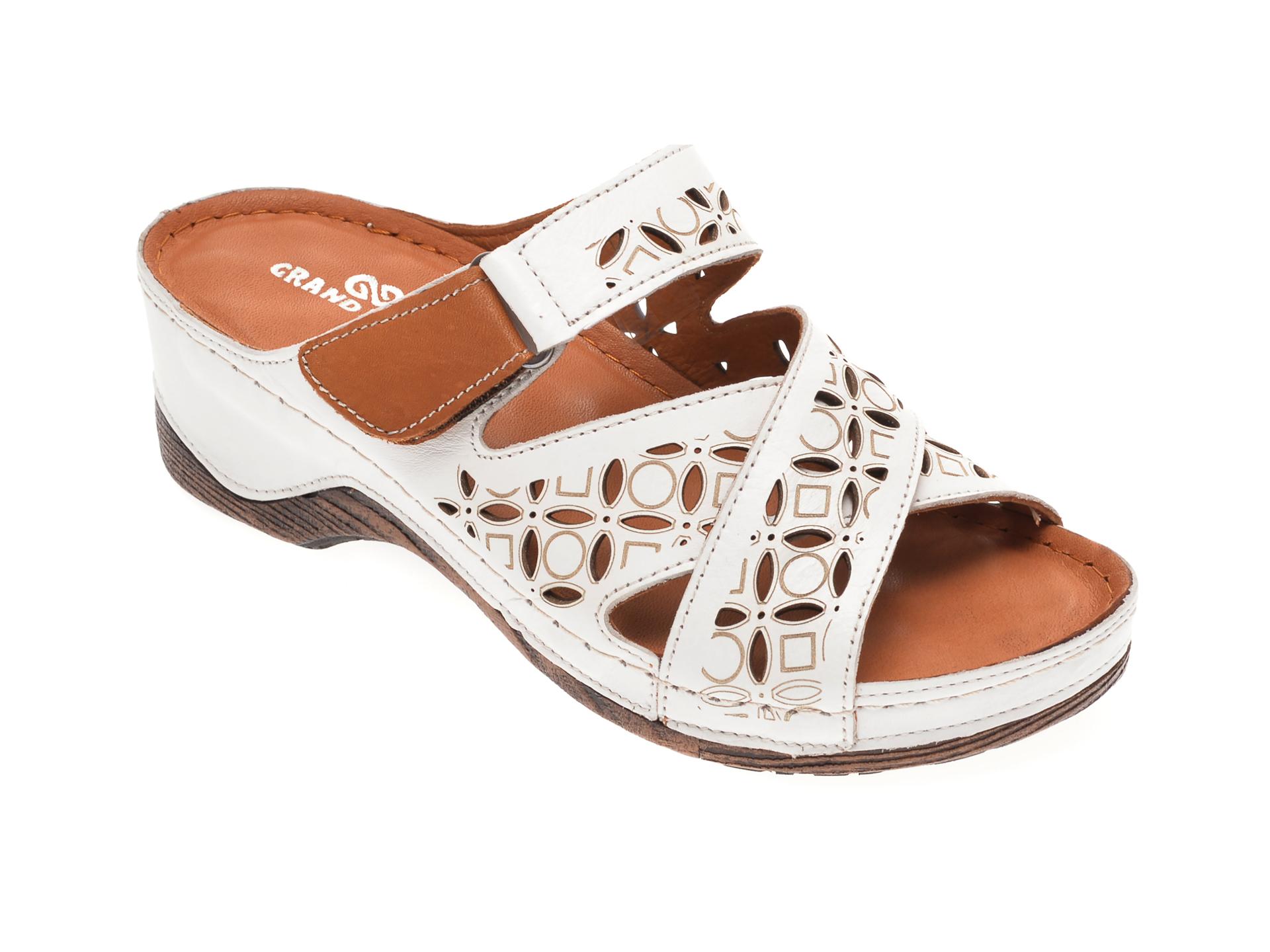 Papuci GRAND MODA albi, 5161, din piele naturala