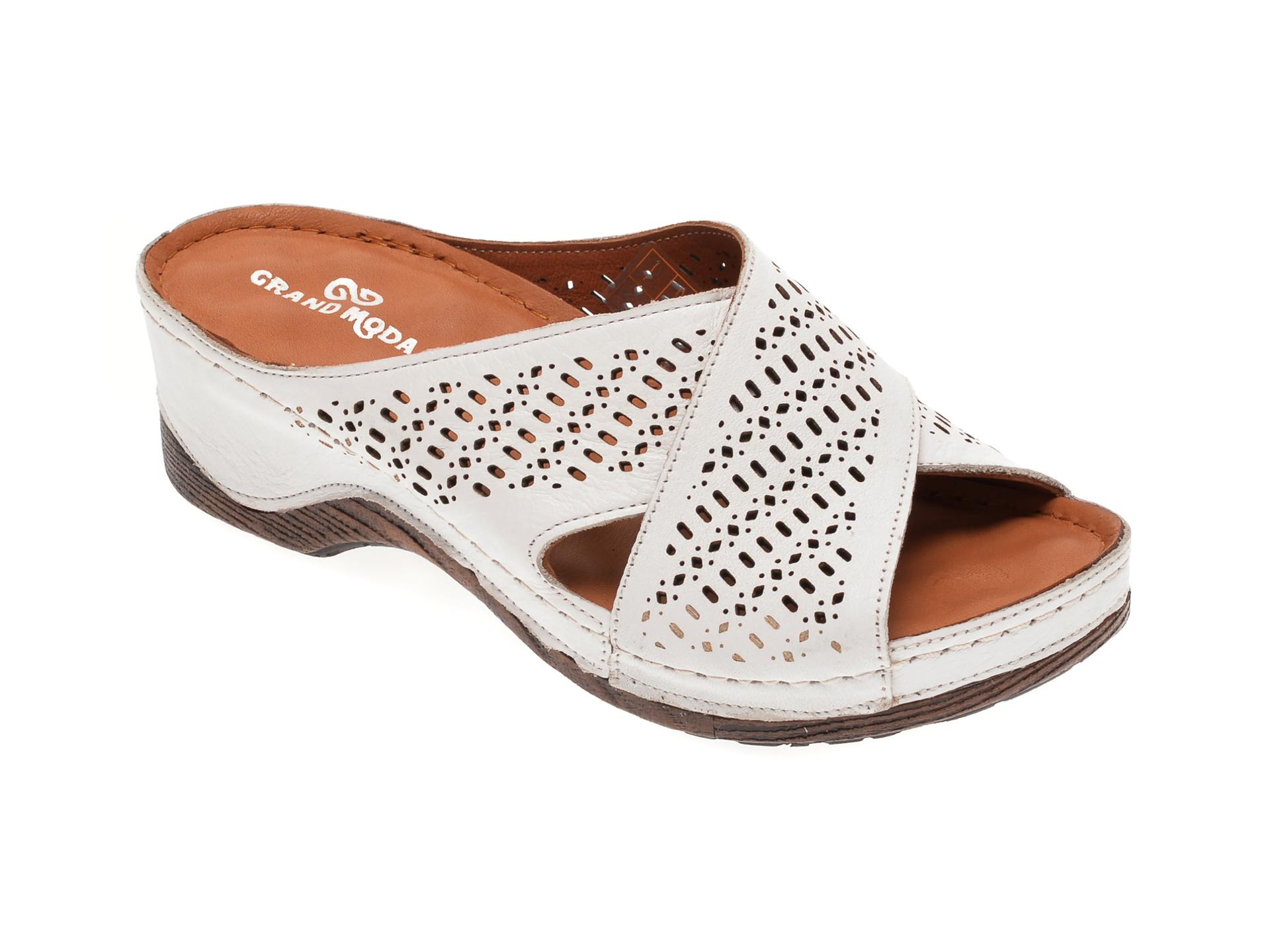 Papuci GRAND MODA albi, 5171, din piele naturala New