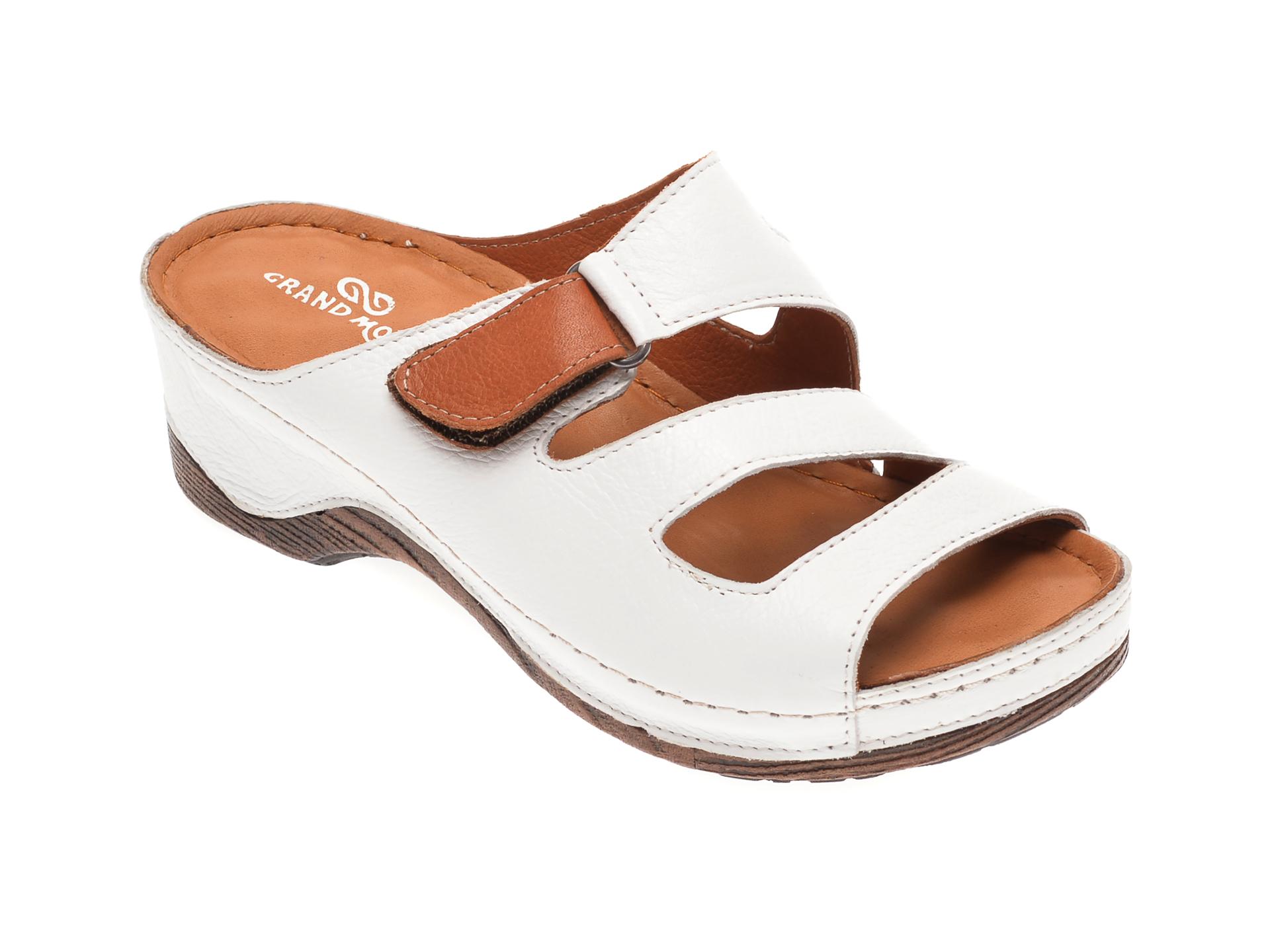 Papuci GRAND MODA albi, 518, din piele naturala