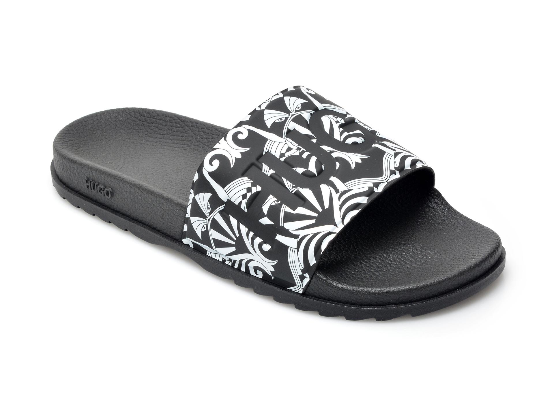 Papuci HUGO BOSS negri, 2016, din pvc