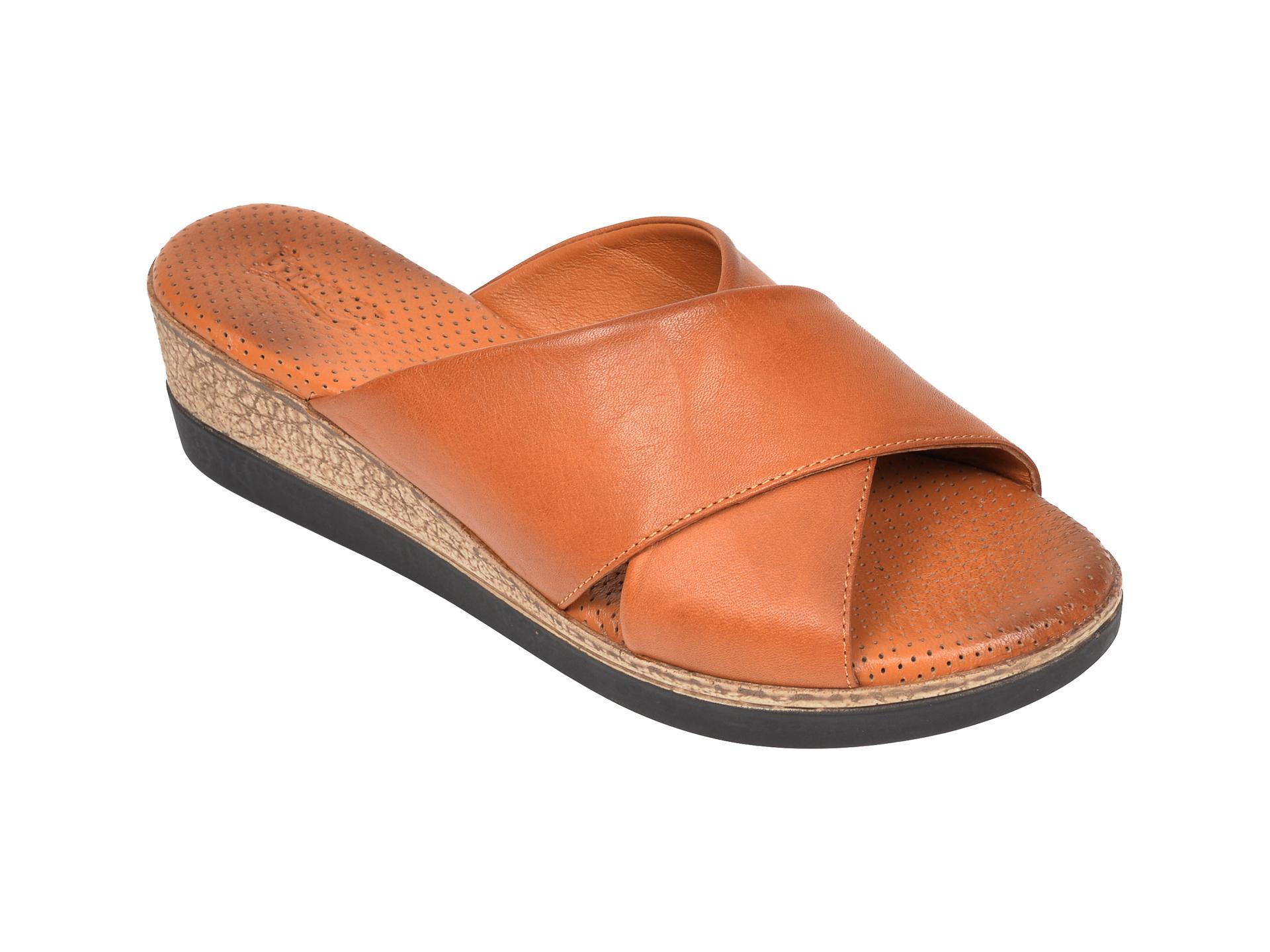Papuci IMAGE maro, 2010, din piele naturala imagine