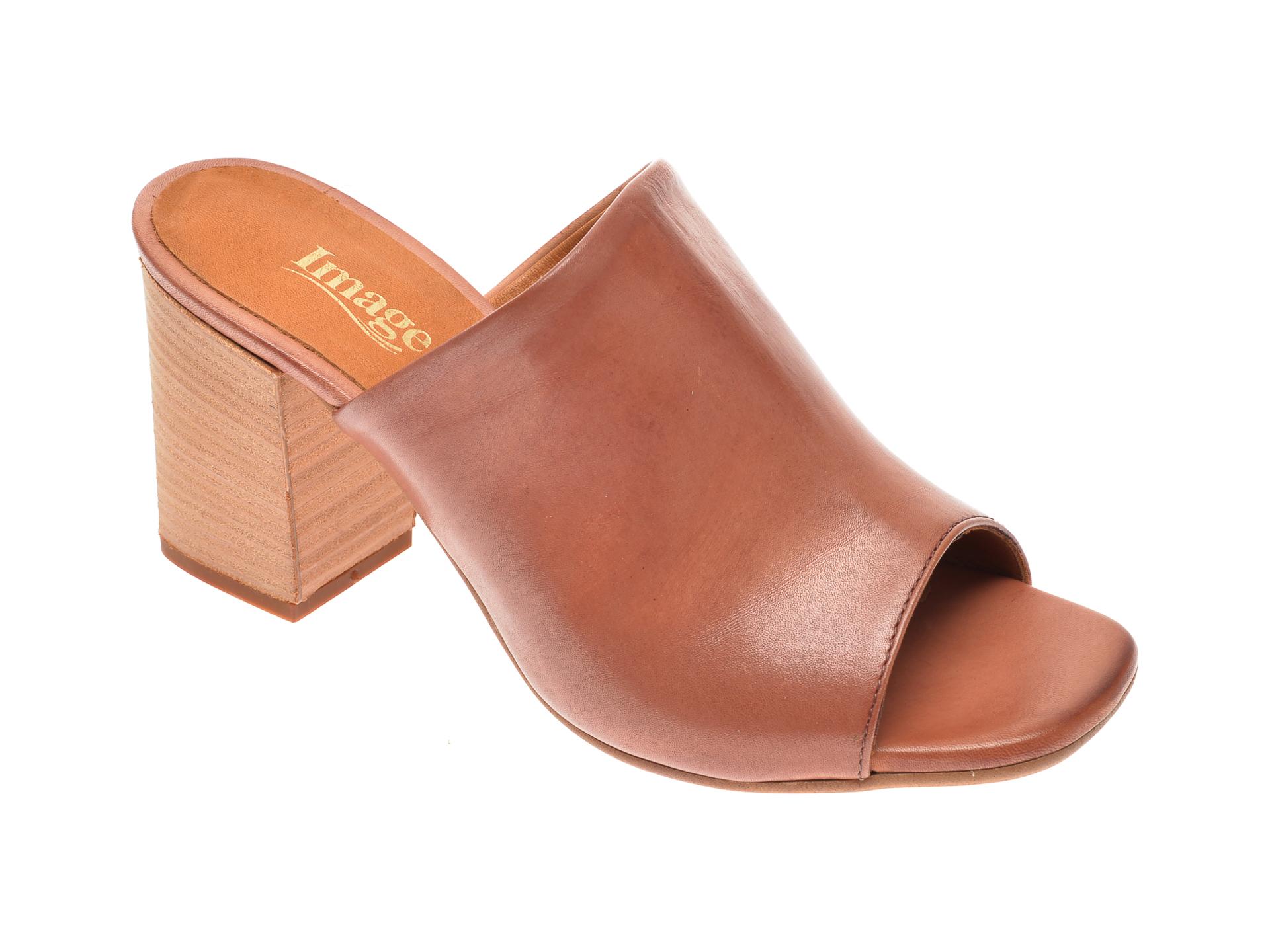 Papuci IMAGE maro, 4018, din piele naturala