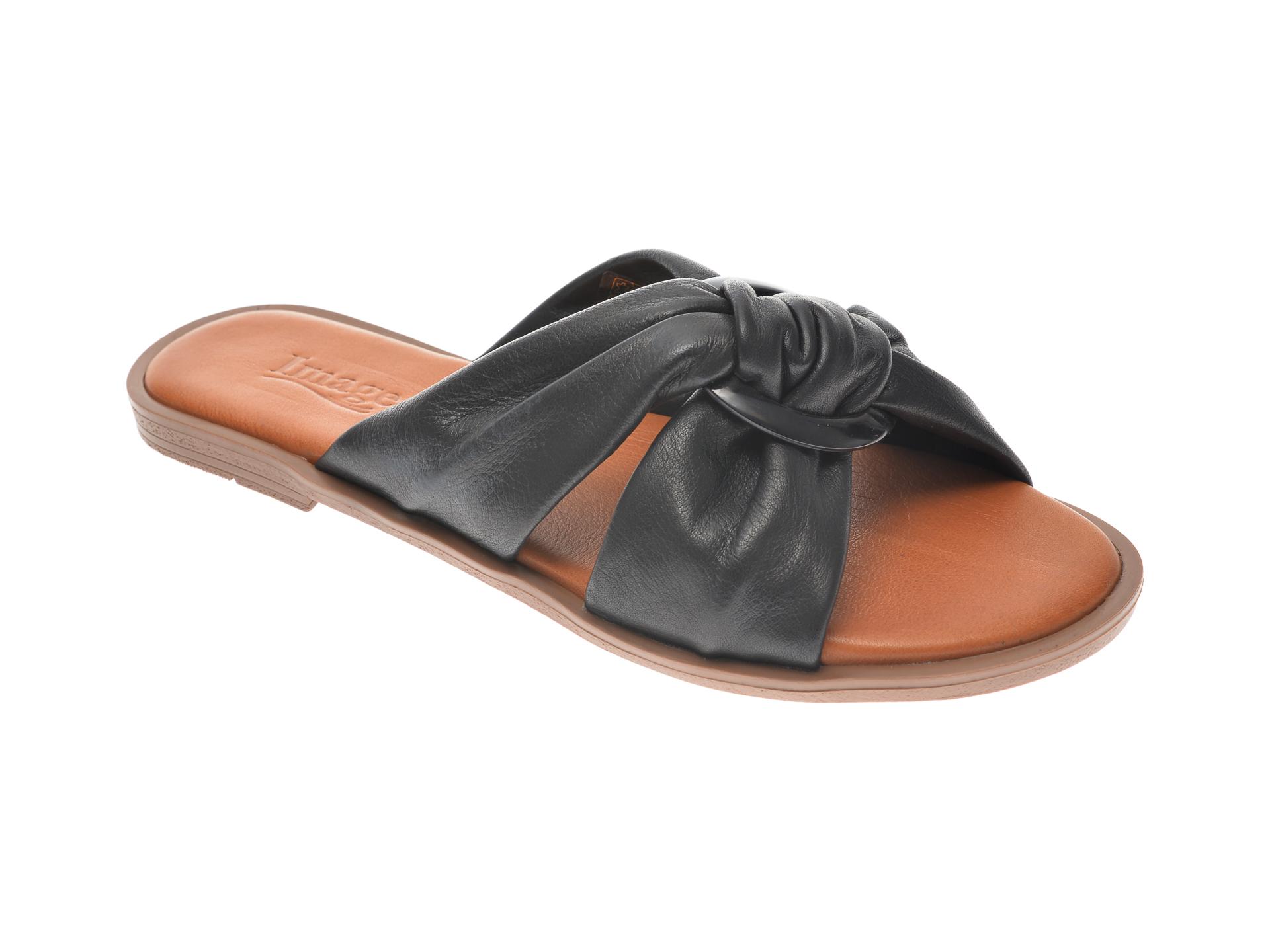 Papuci IMAGE negri, 100307, din piele naturala imagine otter.ro