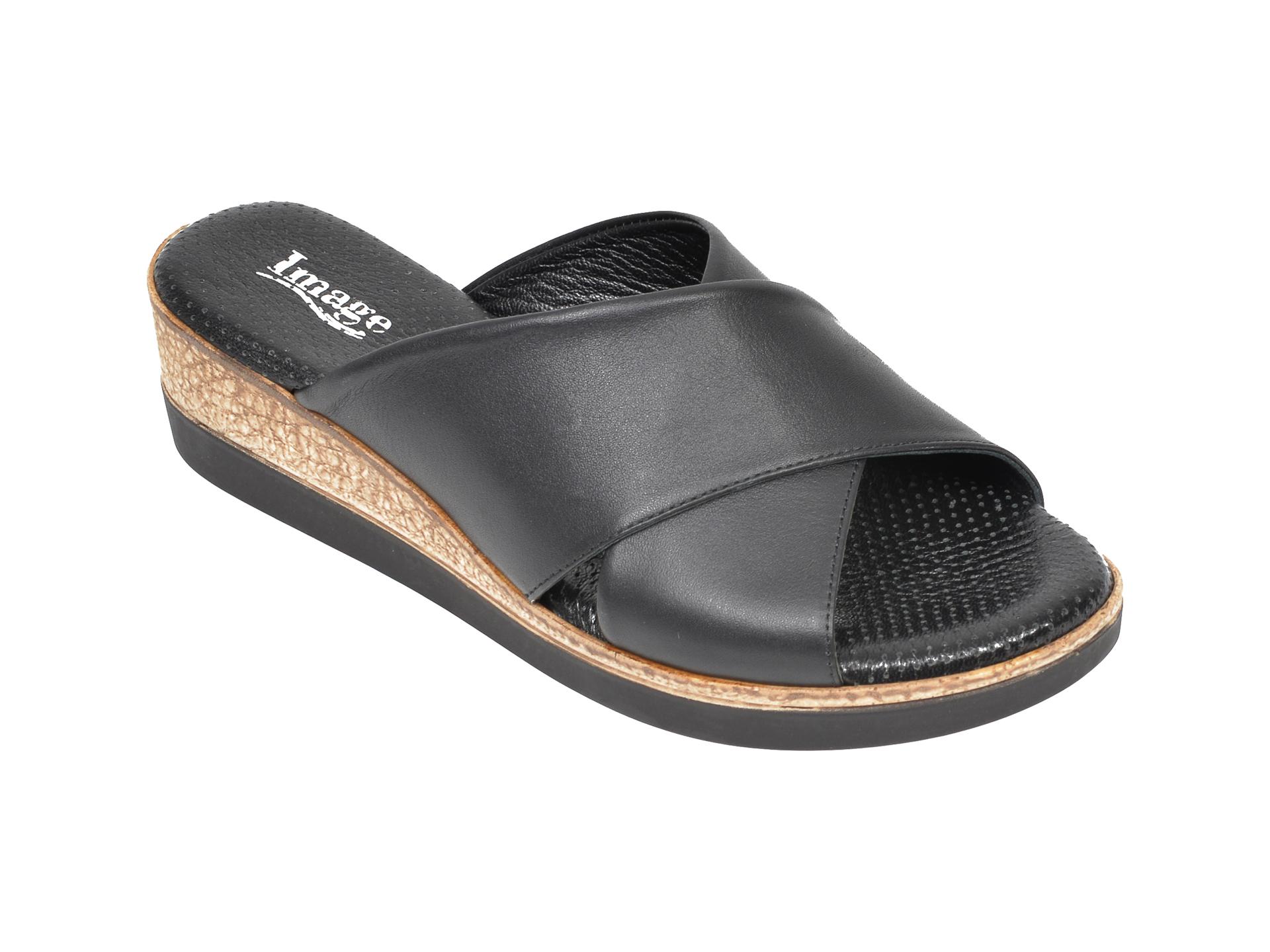 Papuci IMAGE negri, 2010, din piele naturala imagine