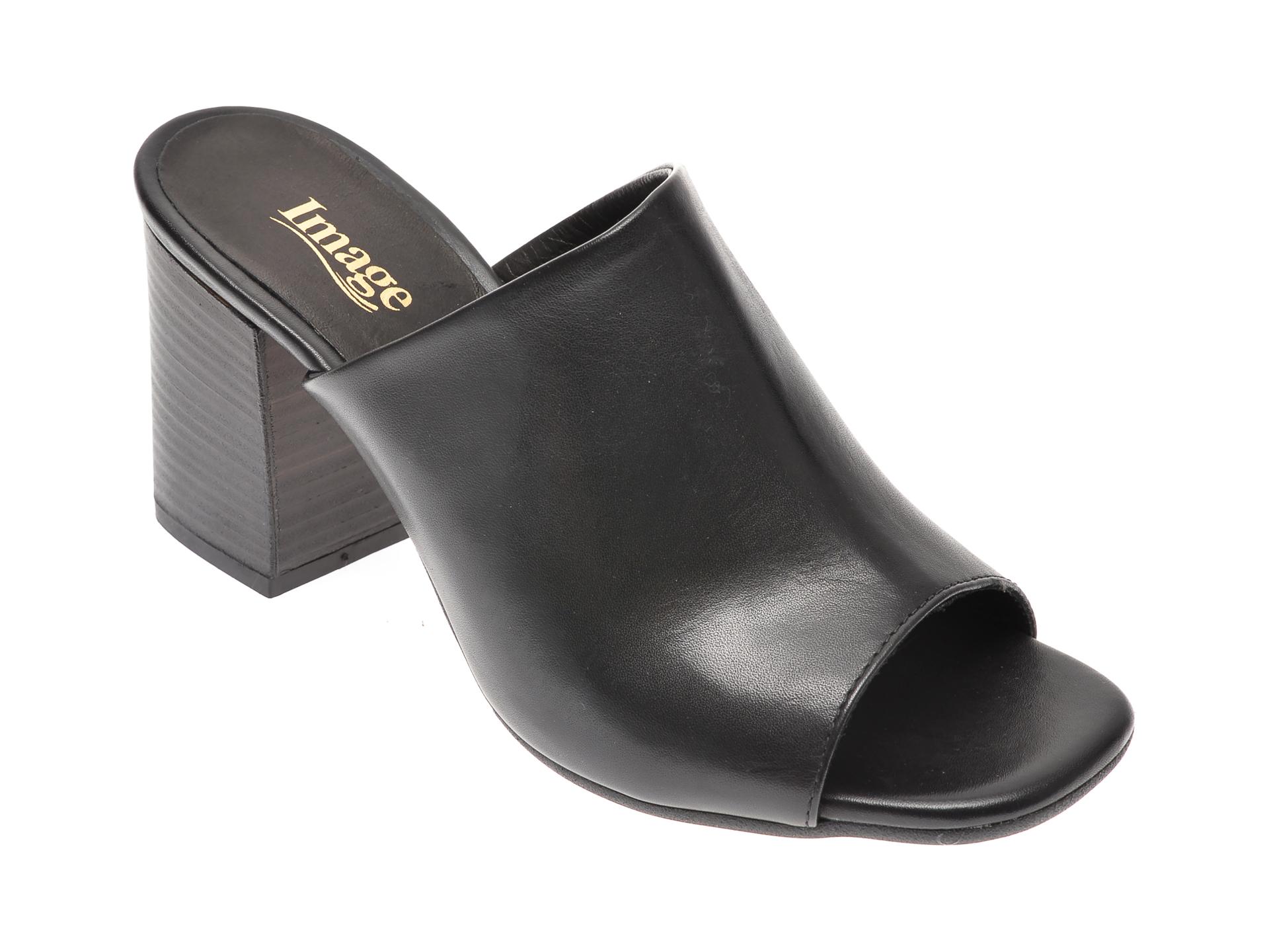 Papuci IMAGE negri, 4018, din piele naturala imagine