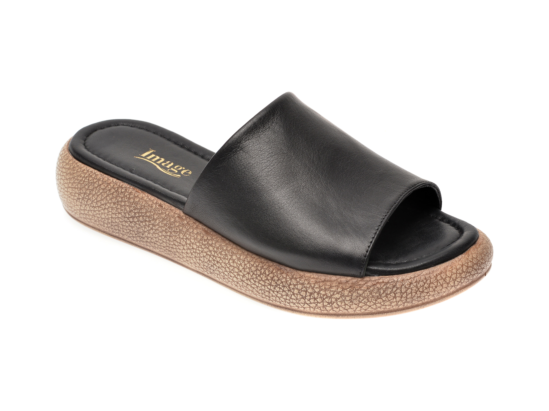 Papuci IMAGE galbeni, 6027, din piele naturala