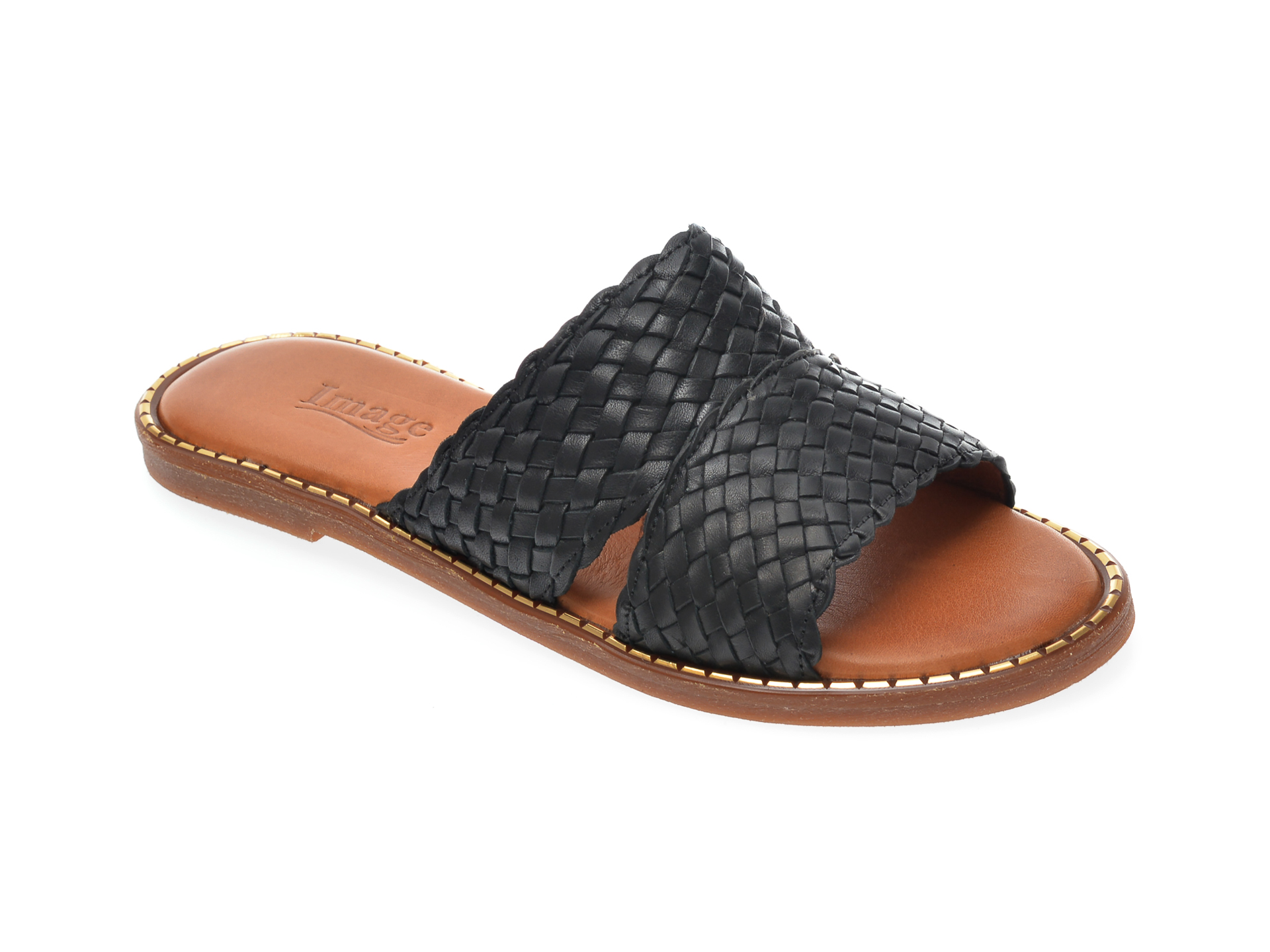 Papuci IMAGE negri, 733, din piele naturala imagine otter.ro