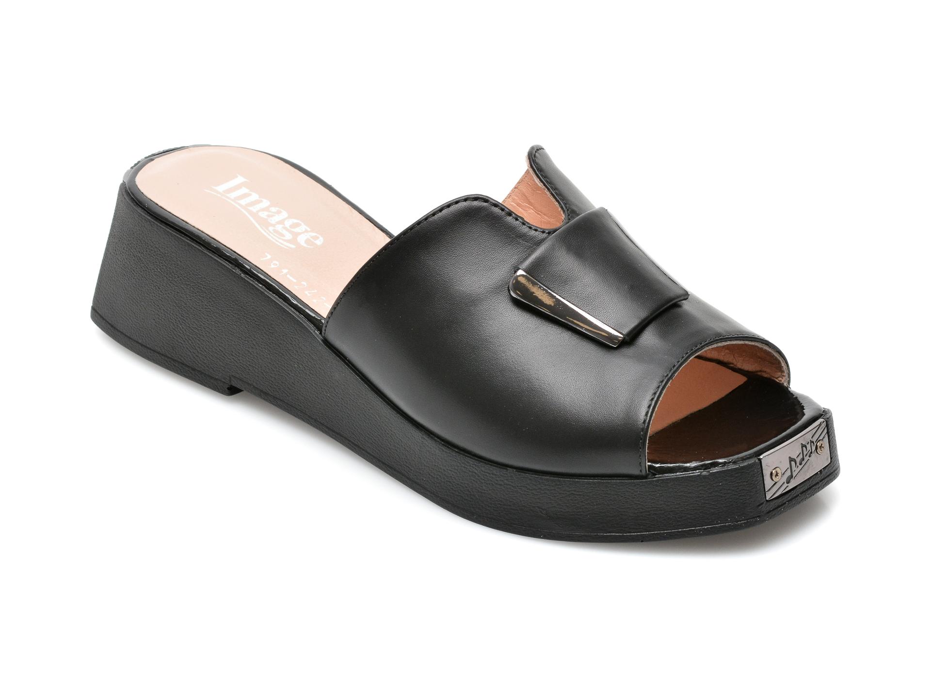 Papuci IMAGE negri, 791242, din piele naturala imagine otter.ro 2021
