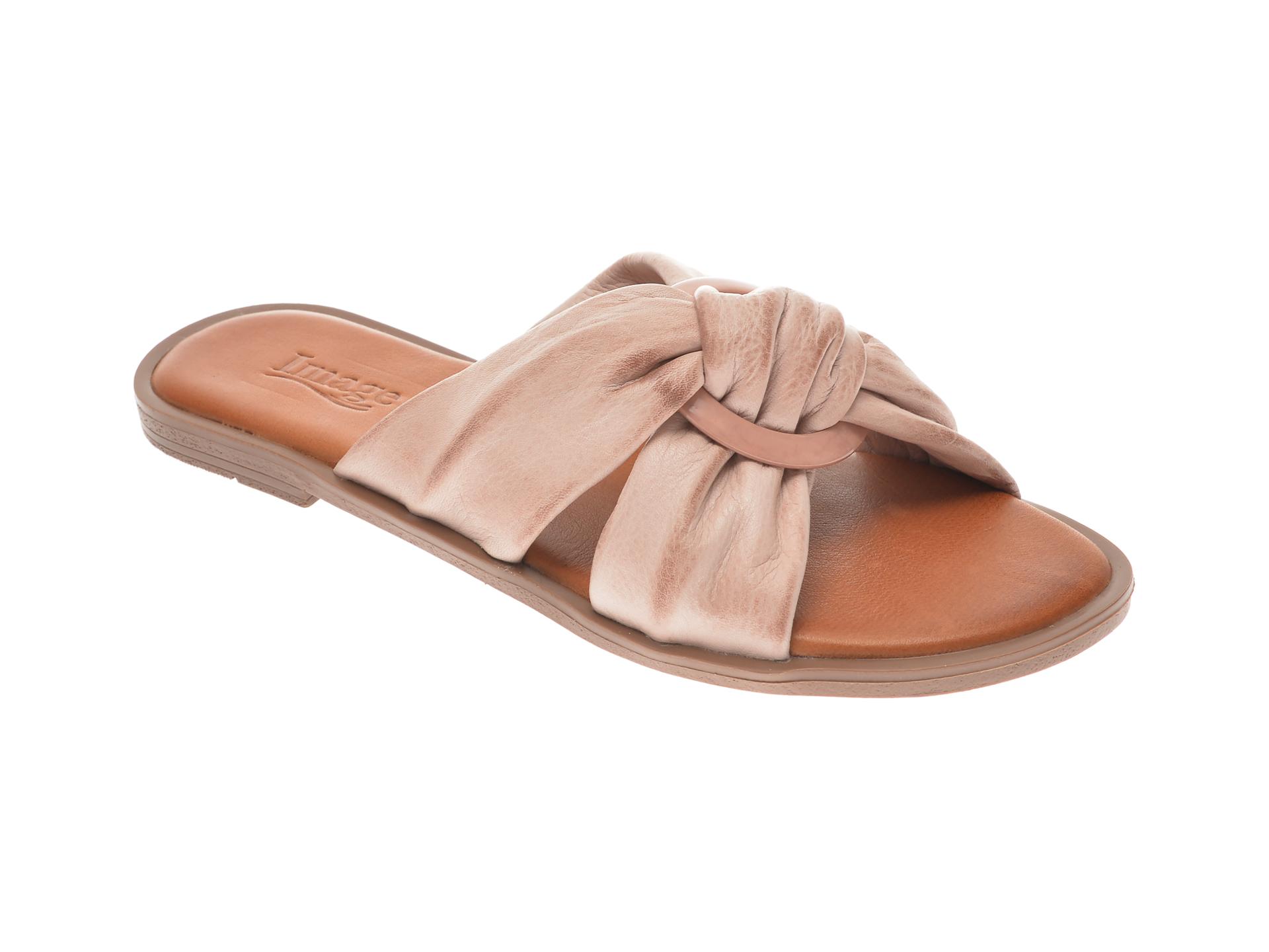 Papuci IMAGE nude, 100307, din piele naturala New