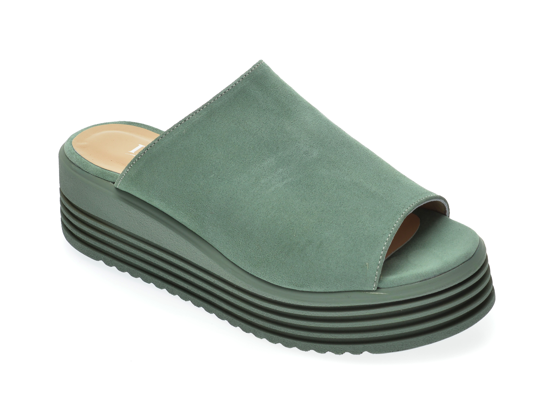 Papuci IMAGE verzi, 20264, din piele naturala imagine otter.ro