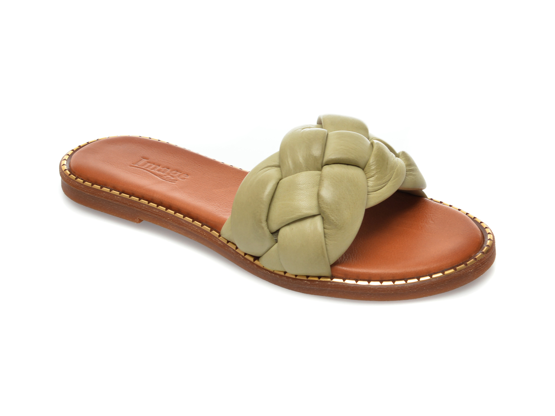 Papuci IMAGE verzi, 734, din piele naturala imagine otter.ro