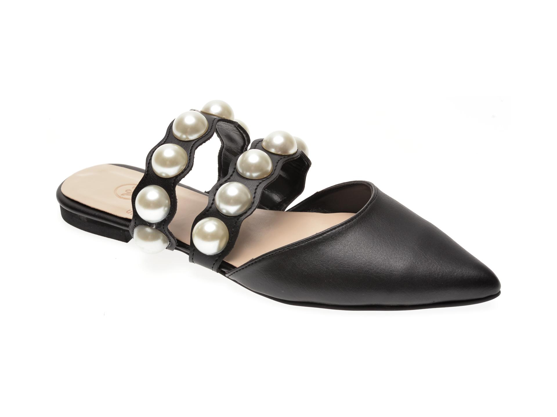 Papuci MESSIMODA negri, 18Y1181, din piele naturala imagine