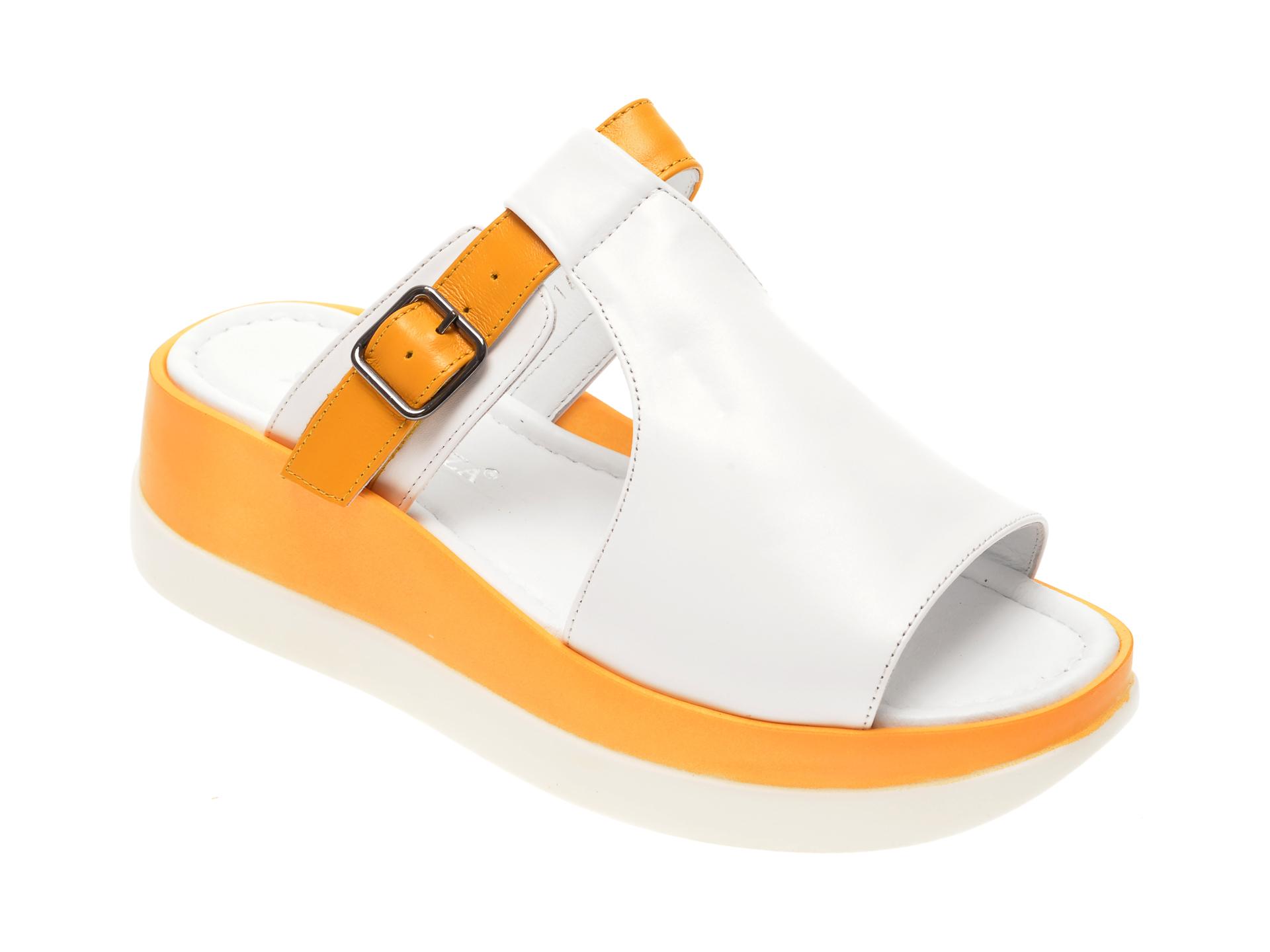 Papuci MISS LIZA albi, 1182443, din piele naturala