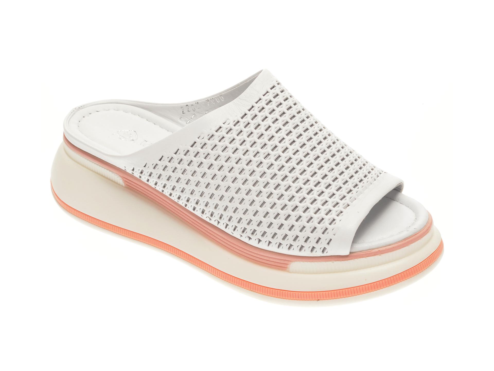Papuci MISS LIZA albi, 1182562, din piele naturala imagine