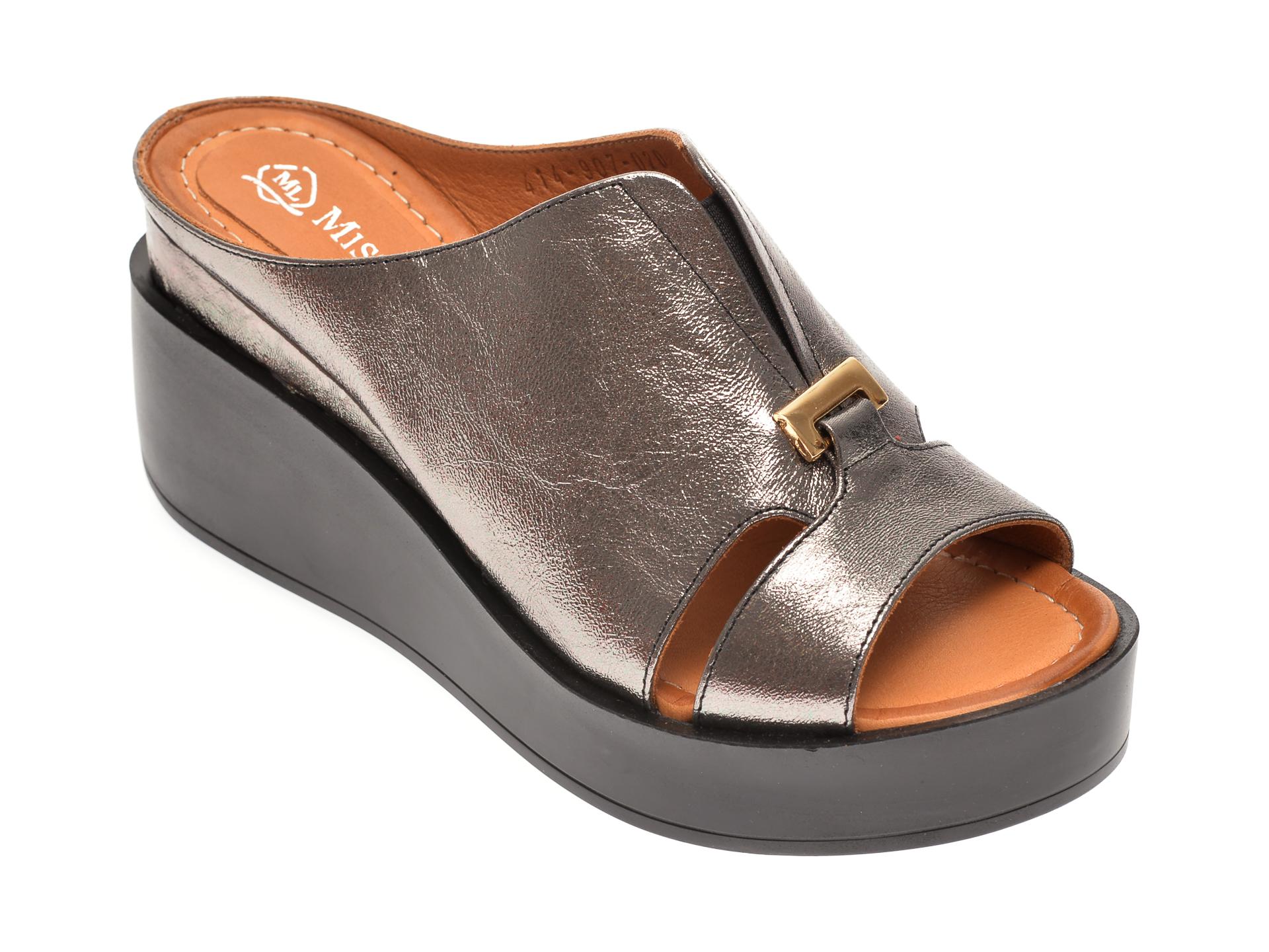 Papuci MISS LIZA argintii, 1182605, din piele naturala