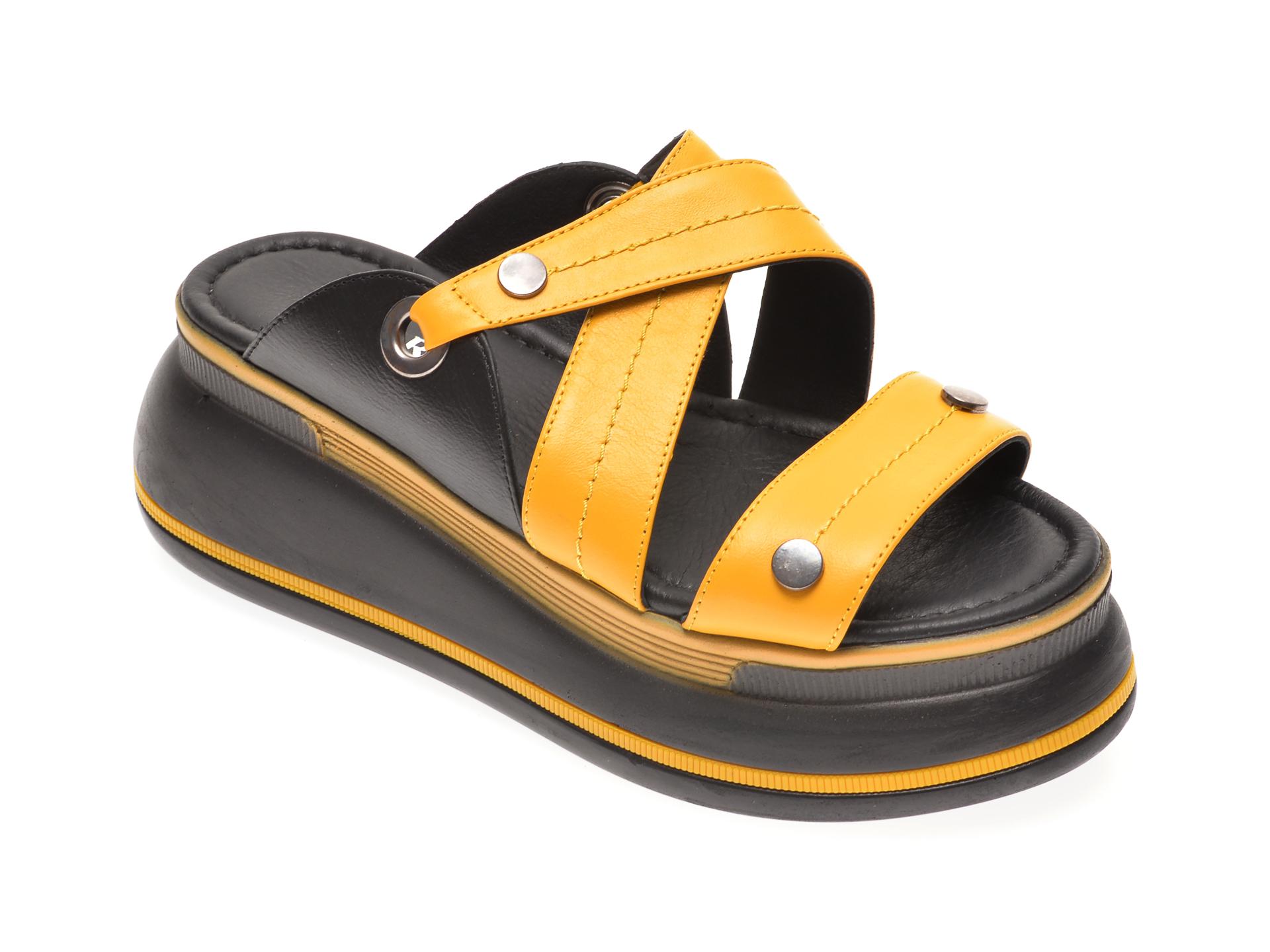 Papuci MISS LIZA galbeni, 1182386, din piele naturala