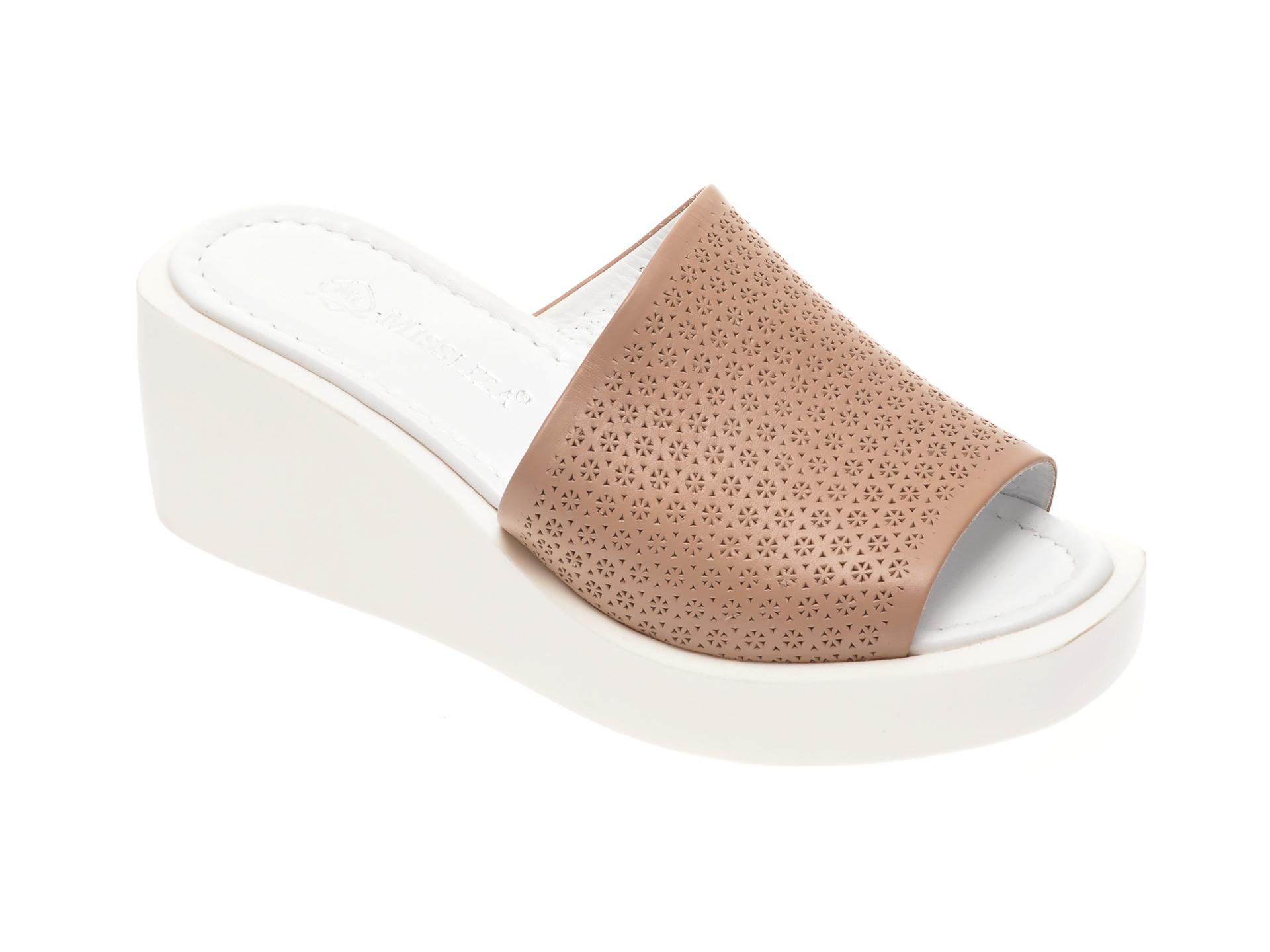Papuci MISS LIZA maro, 1182684, din piele naturala