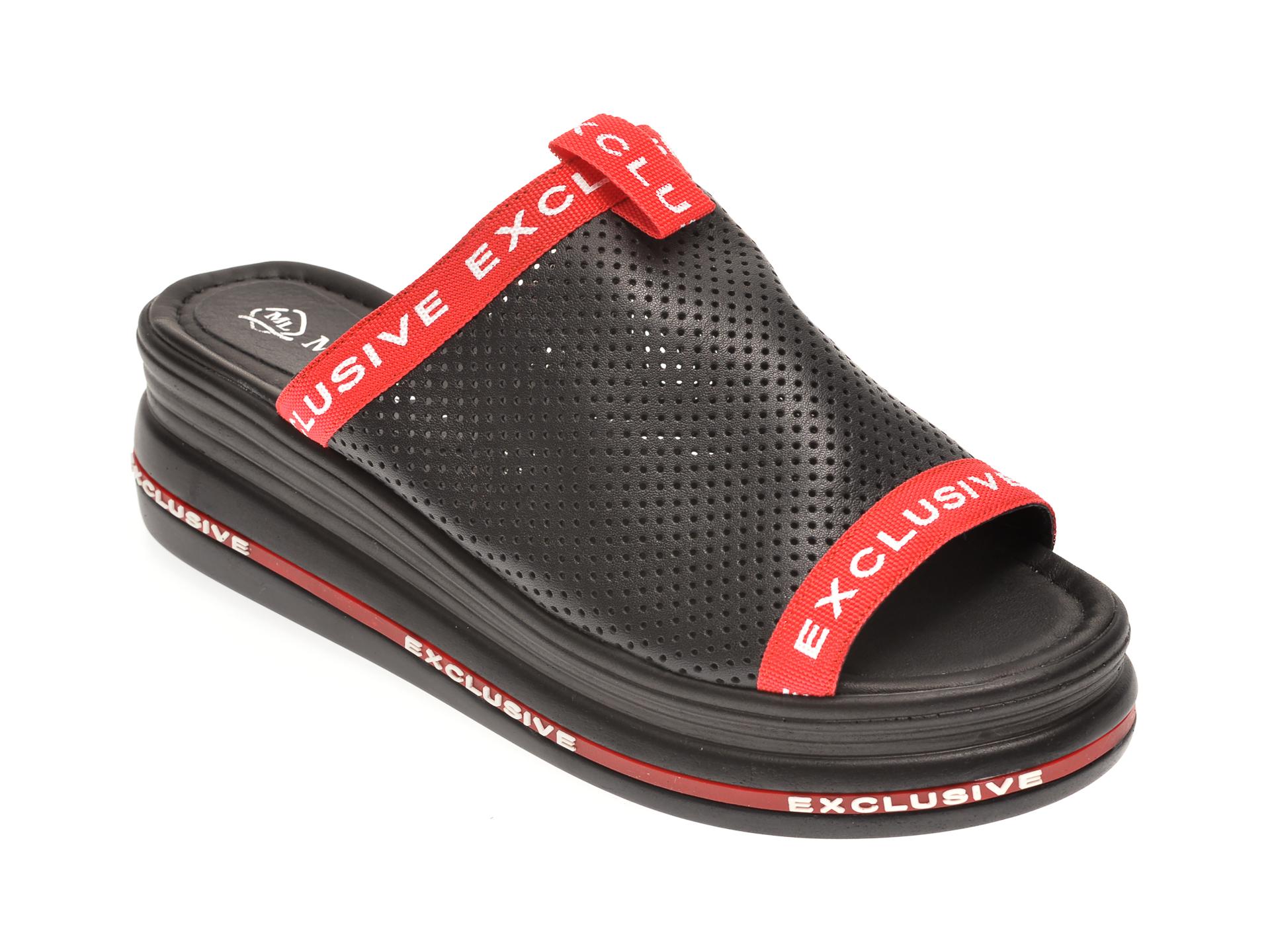 Papuci MISS LIZA negri, 1182290, din piele naturala New