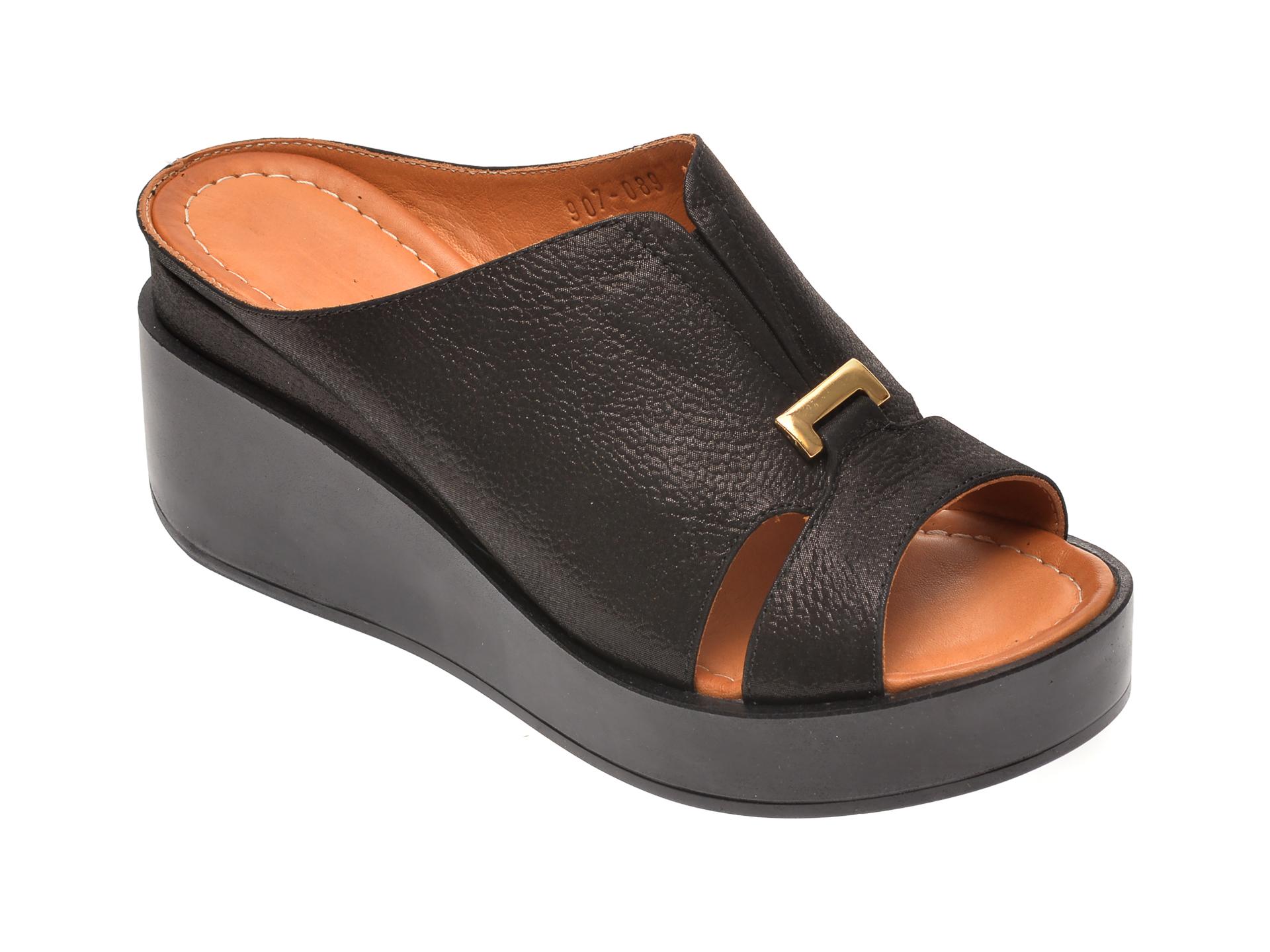 Papuci MISS LIZA negri, 118907, din piele naturala