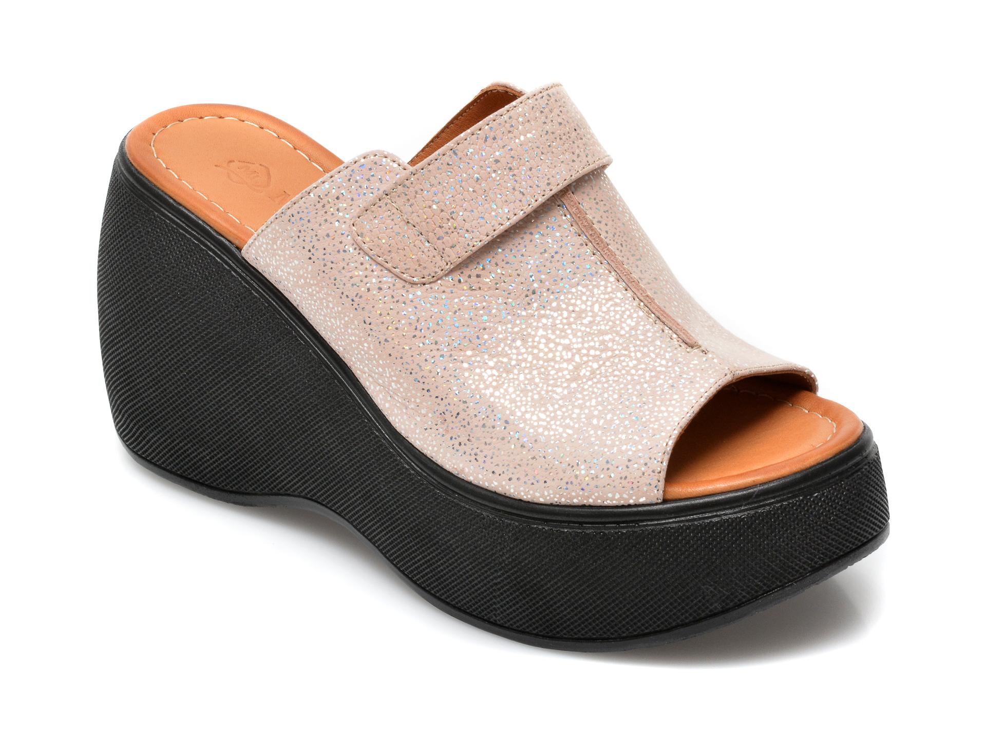 Papuci FLAVIA PASSINI argintii, 2450HH, din piele naturala