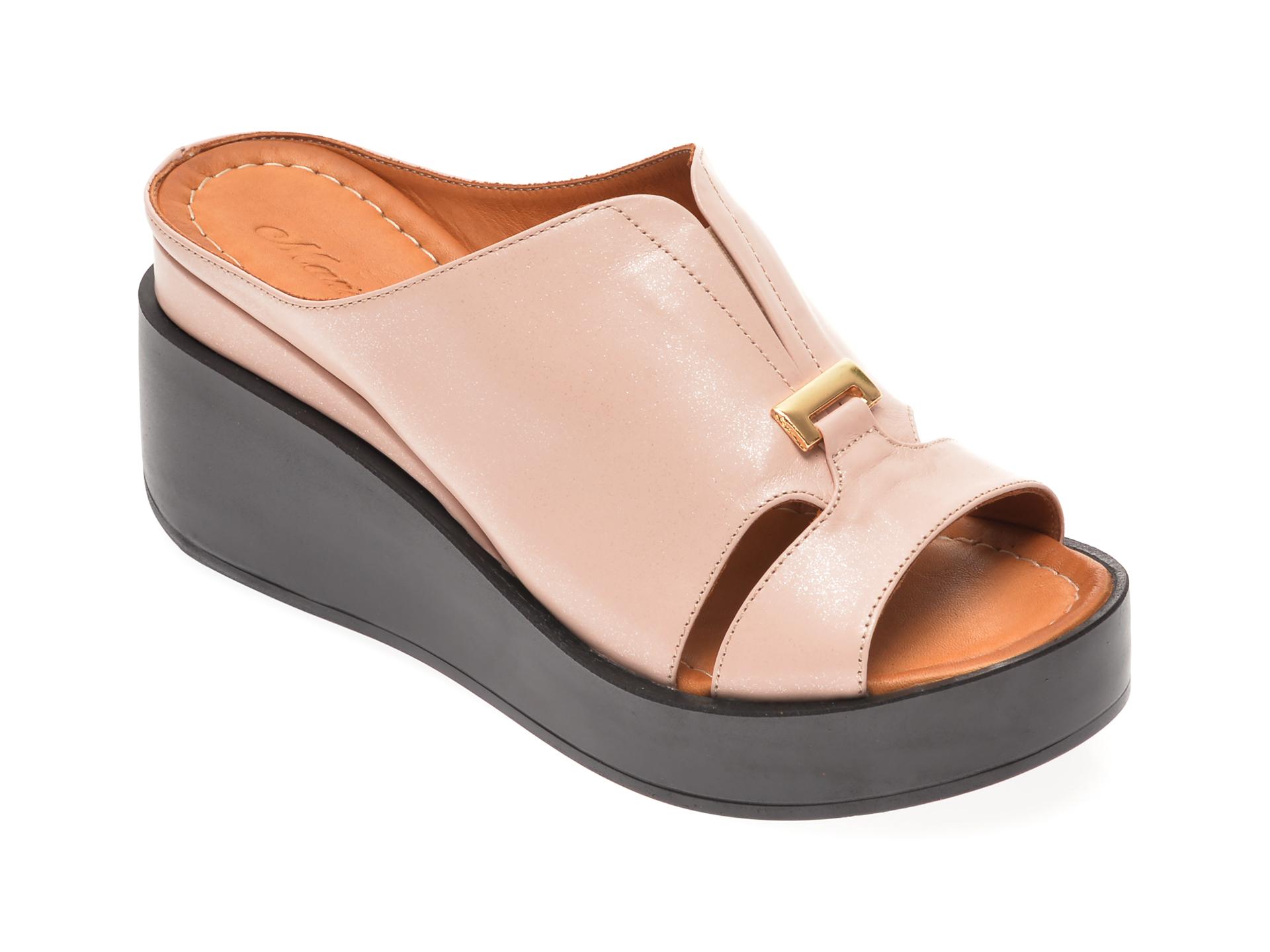 Papuci MISS LIZA roz, 118907, din piele naturala