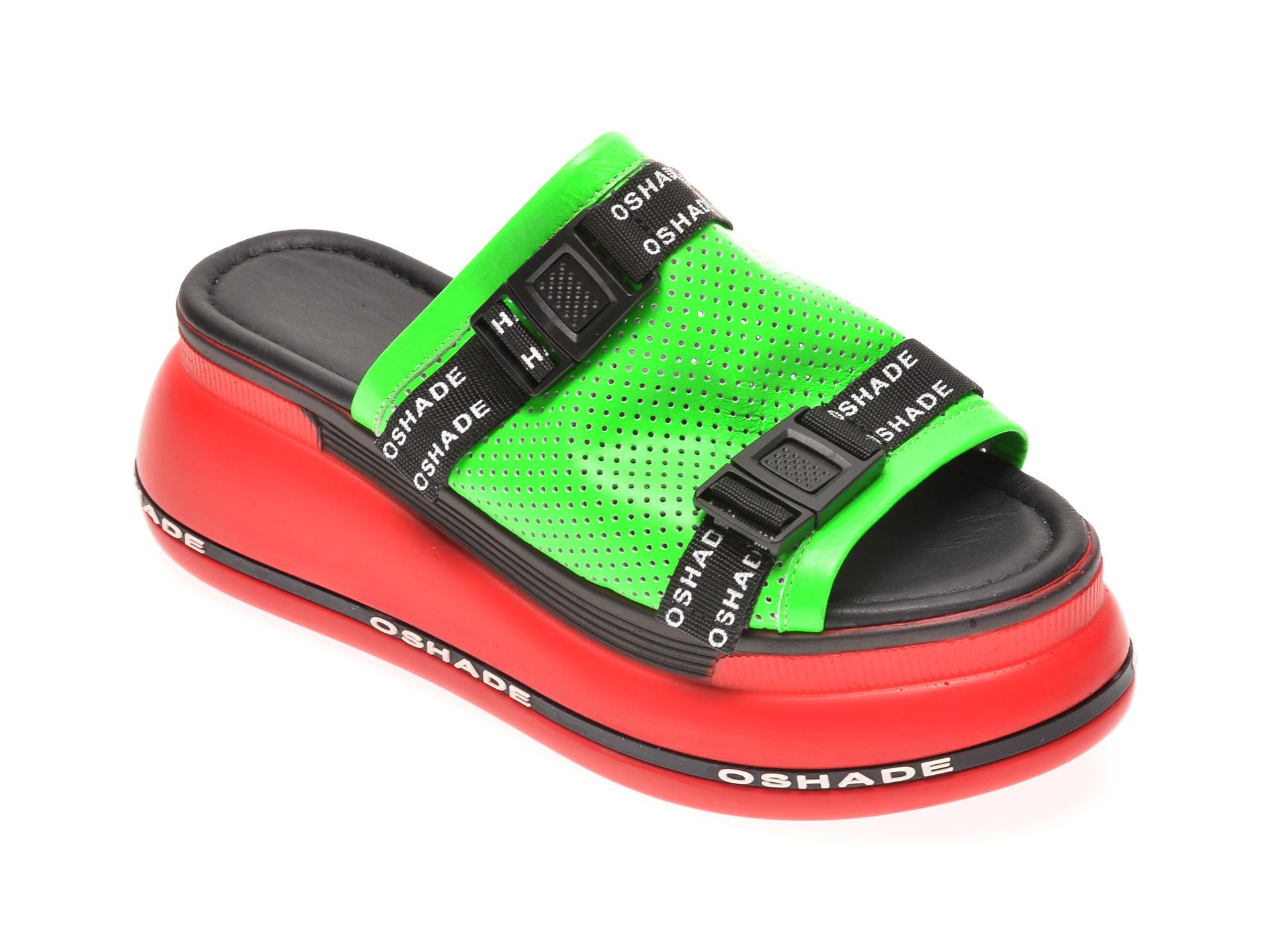 Papuci MISS LIZA verzi, 1182534, din piele naturala New