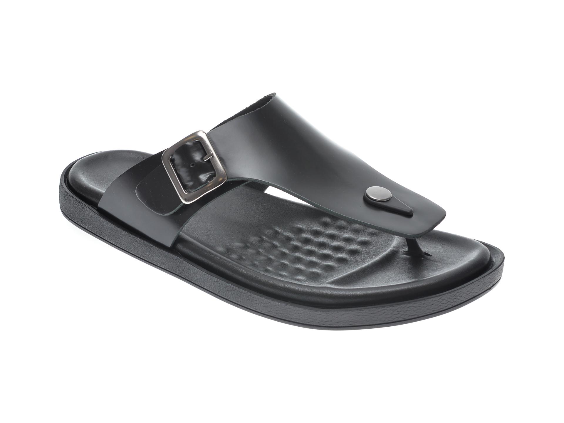 Papuci OTTER negri, 103, din piele naturala imagine
