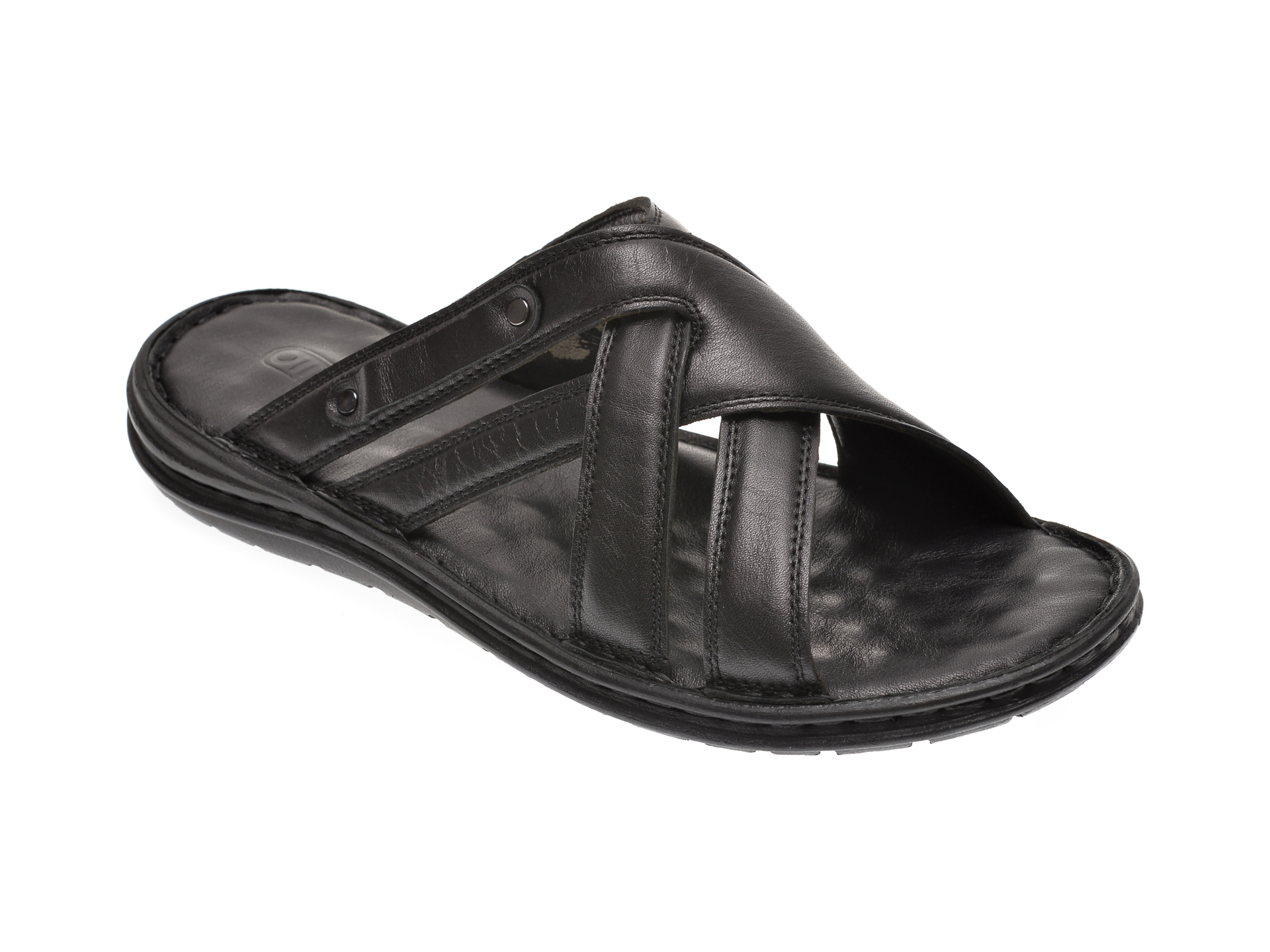Papuci OTTER negri, 13125, din piele naturala imagine