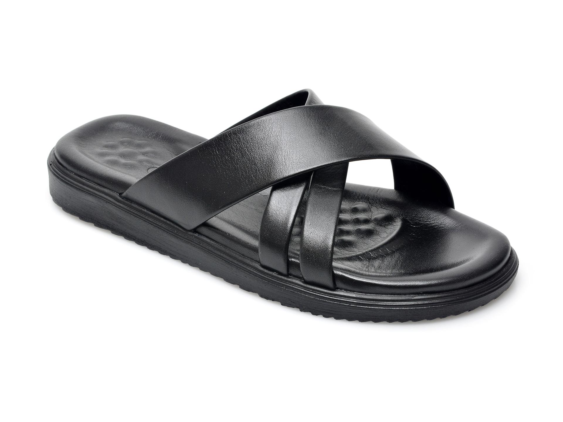 Papuci OTTER negri, 205, din piele naturala imagine