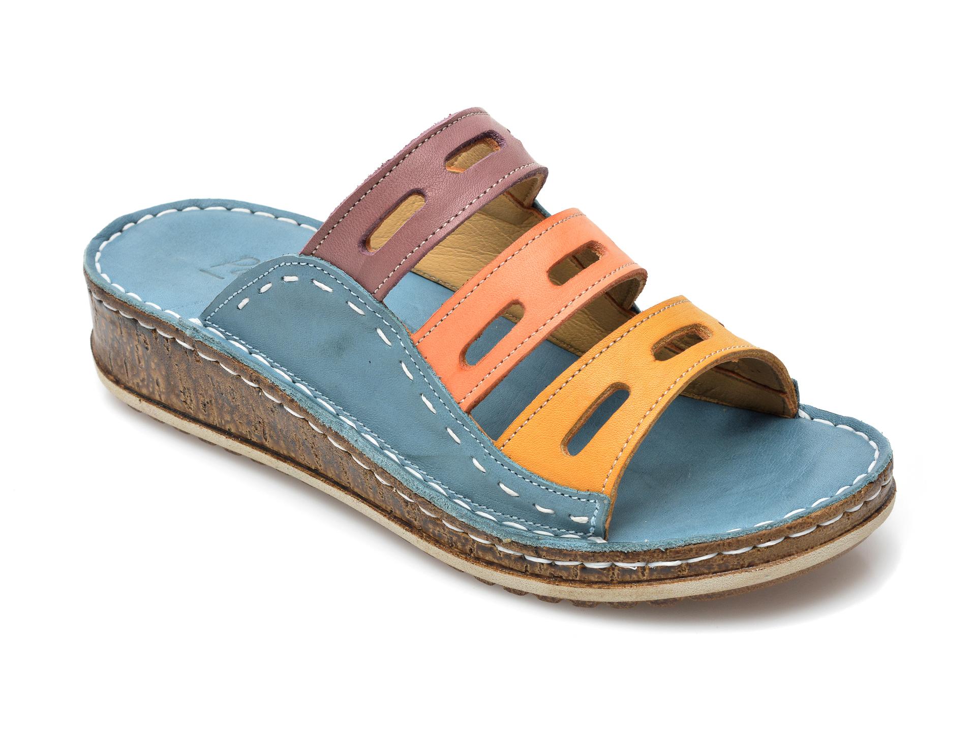 Papuci PAVARELLA albastri, 1347, din piele naturala imagine otter.ro 2021