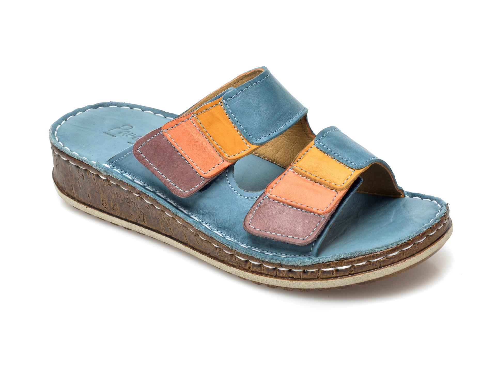 Papuci PAVARELLA albastri, 1364, din piele naturala imagine otter.ro 2021