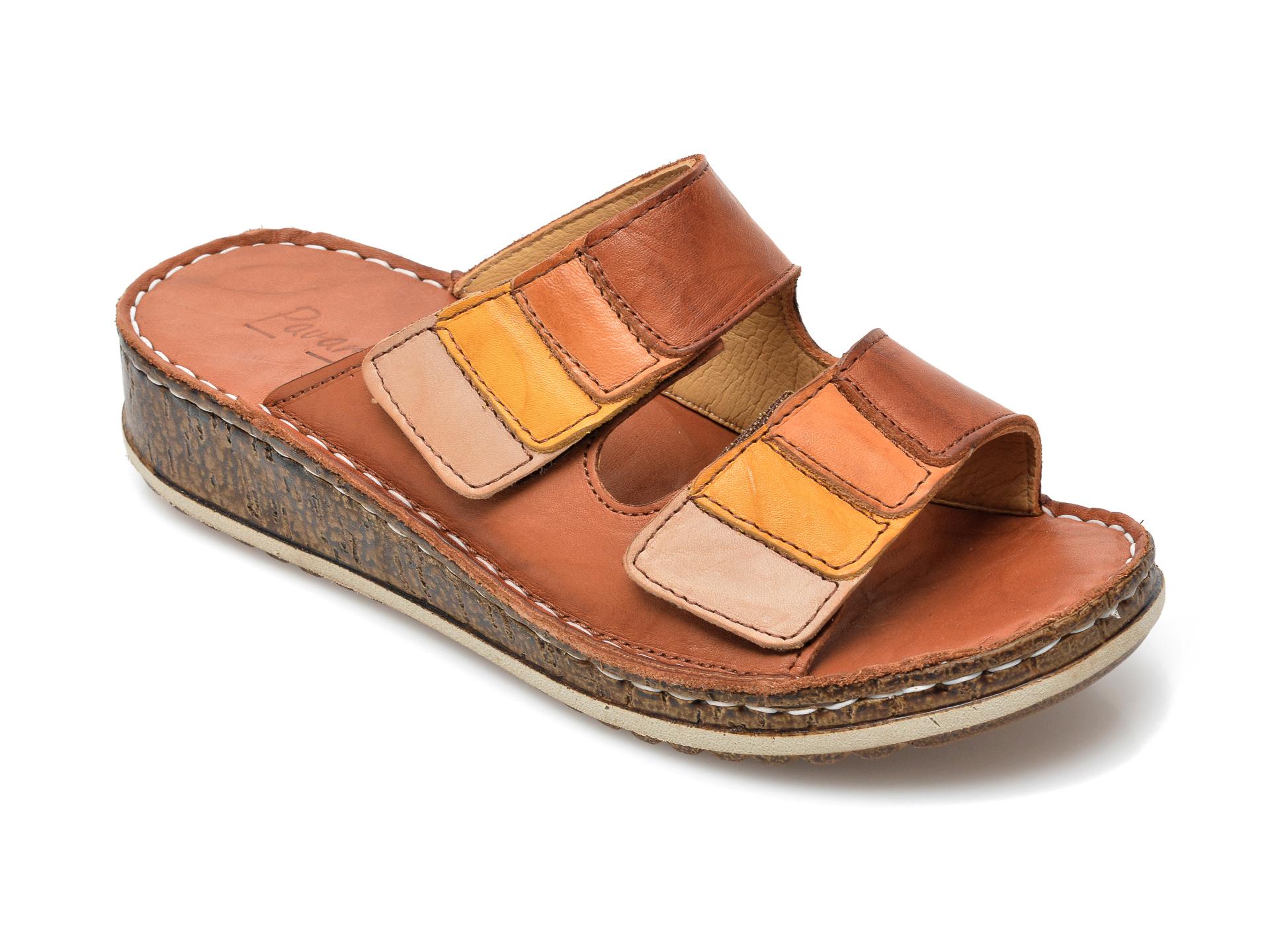 Papuci PAVARELLA maro, 1364, din piele naturala imagine otter.ro 2021
